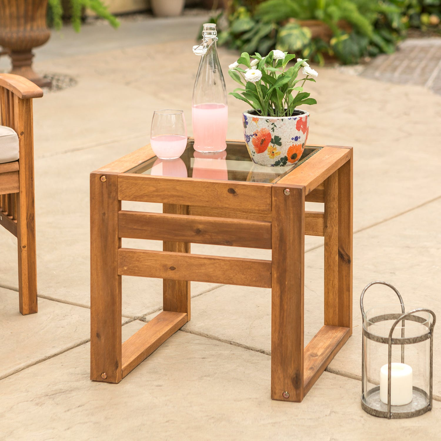 hudson wood patio end table with glass top pier outdoor thank you ethan allen bench gabberts bedroom furniture plastic nic tables lazy boy regina bath toys kmart refinishing