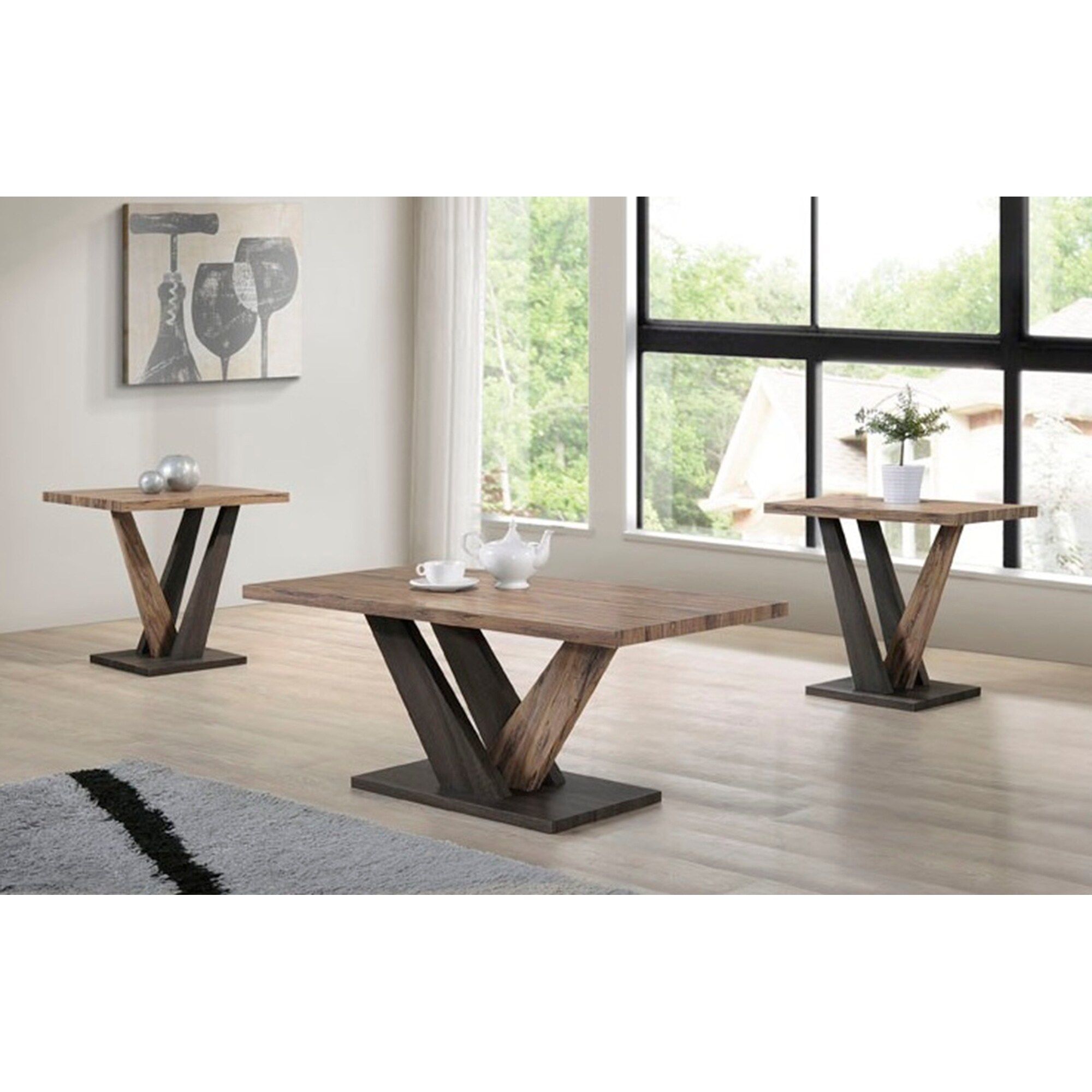 indoor light brown and dark wooden modern rustic rectangular coffee table set with two end tables free shipping today ethan allen furniture catalog custom cut top acme replacement