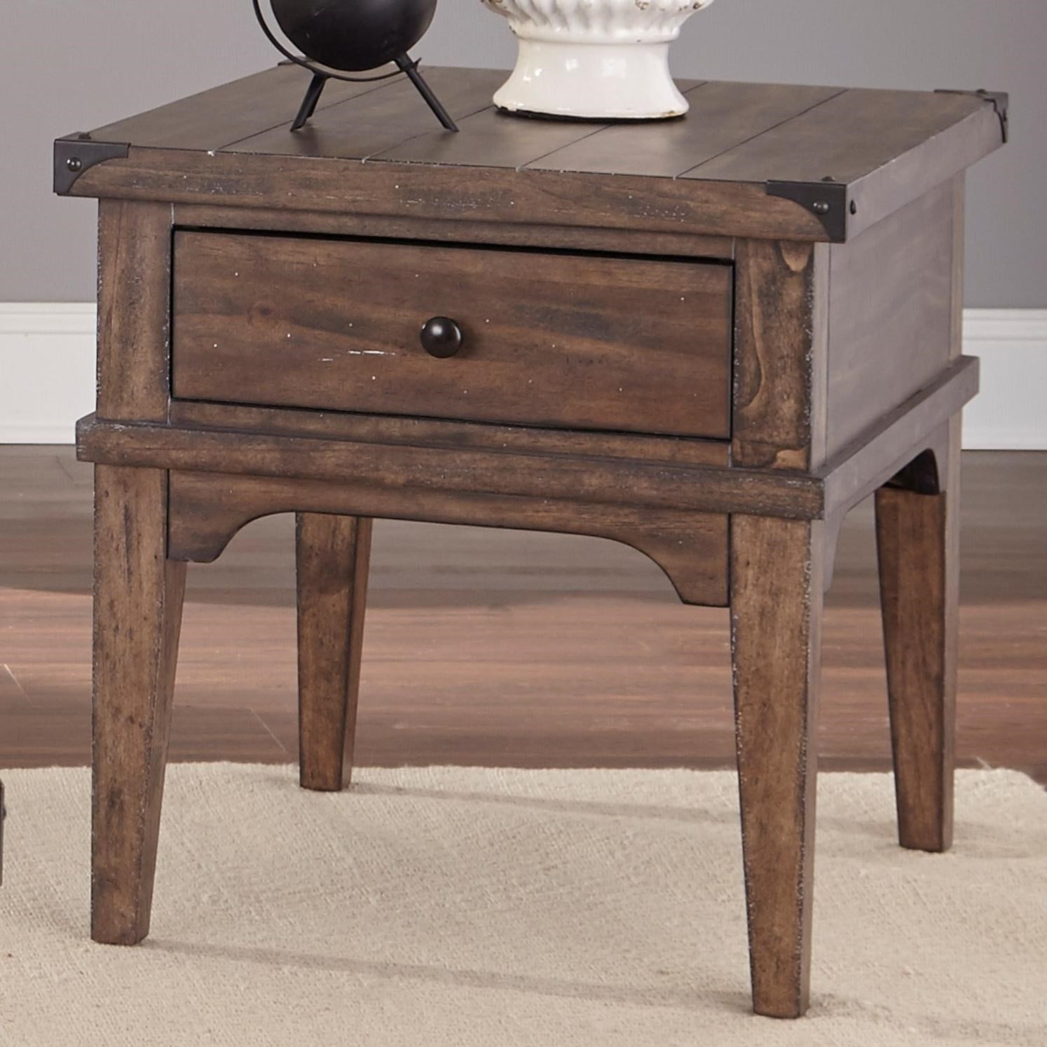 industrial casual end table with one drawer liberty furniture products color aspen skies occ wolf tables kmart kids boots what acme pulaski manufacturer website glass toronto