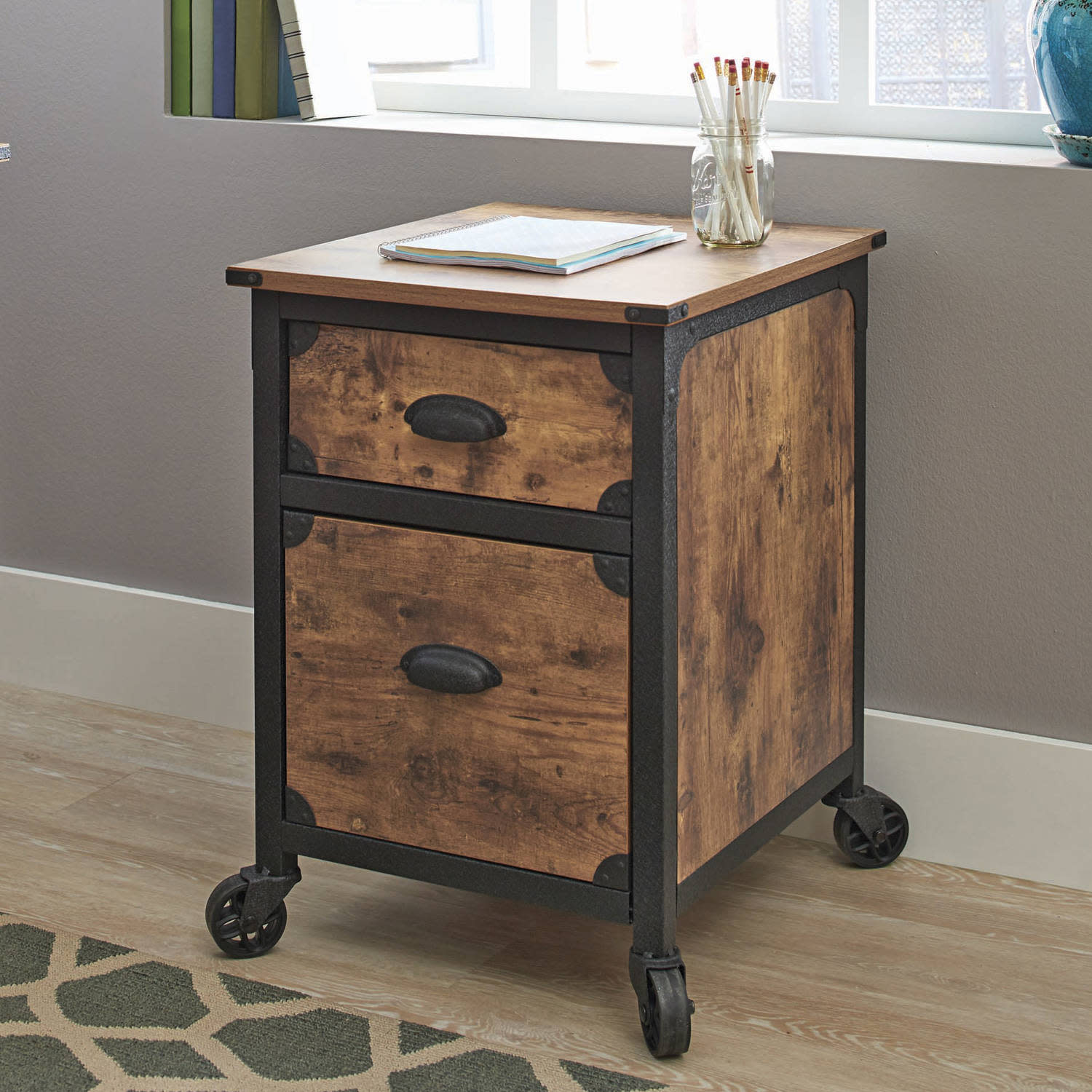 industrial rustic wood black metal drawer file cabinet filing end table with office new replace glass coffee tile target accent unpainted furniture armoire modern tulsa powell