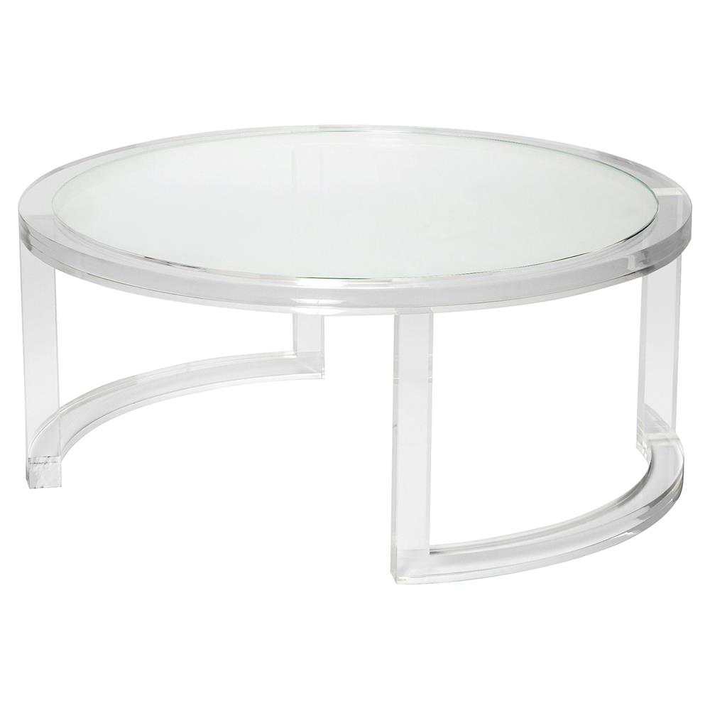 interlude ava modern round clear glass acrylic coffee table product end tables kathy kuo home gray leather chair ivory bedside tall lamp with shelves entrance hall low side