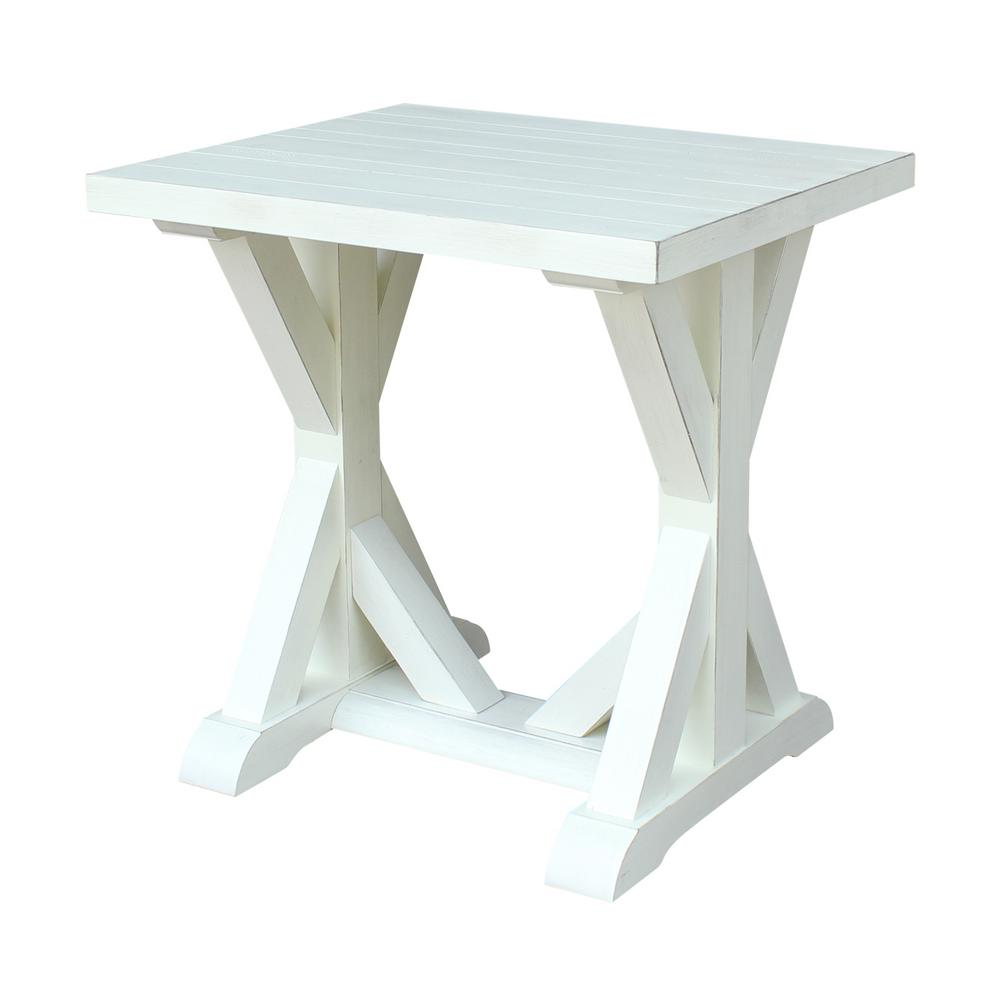 international concepts modern farmhouse distressed white end table seashell tables plank liberty furniture dining chairs low profile box spring wooden coffee designs ashley kids