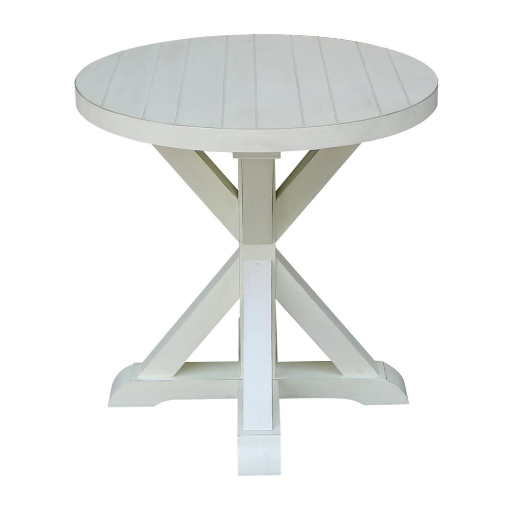 international concepts modern farmhouse distressed white round end seashell tables plank wood table bolero dining chairs riverside medley nightstand for with drawers free delivery