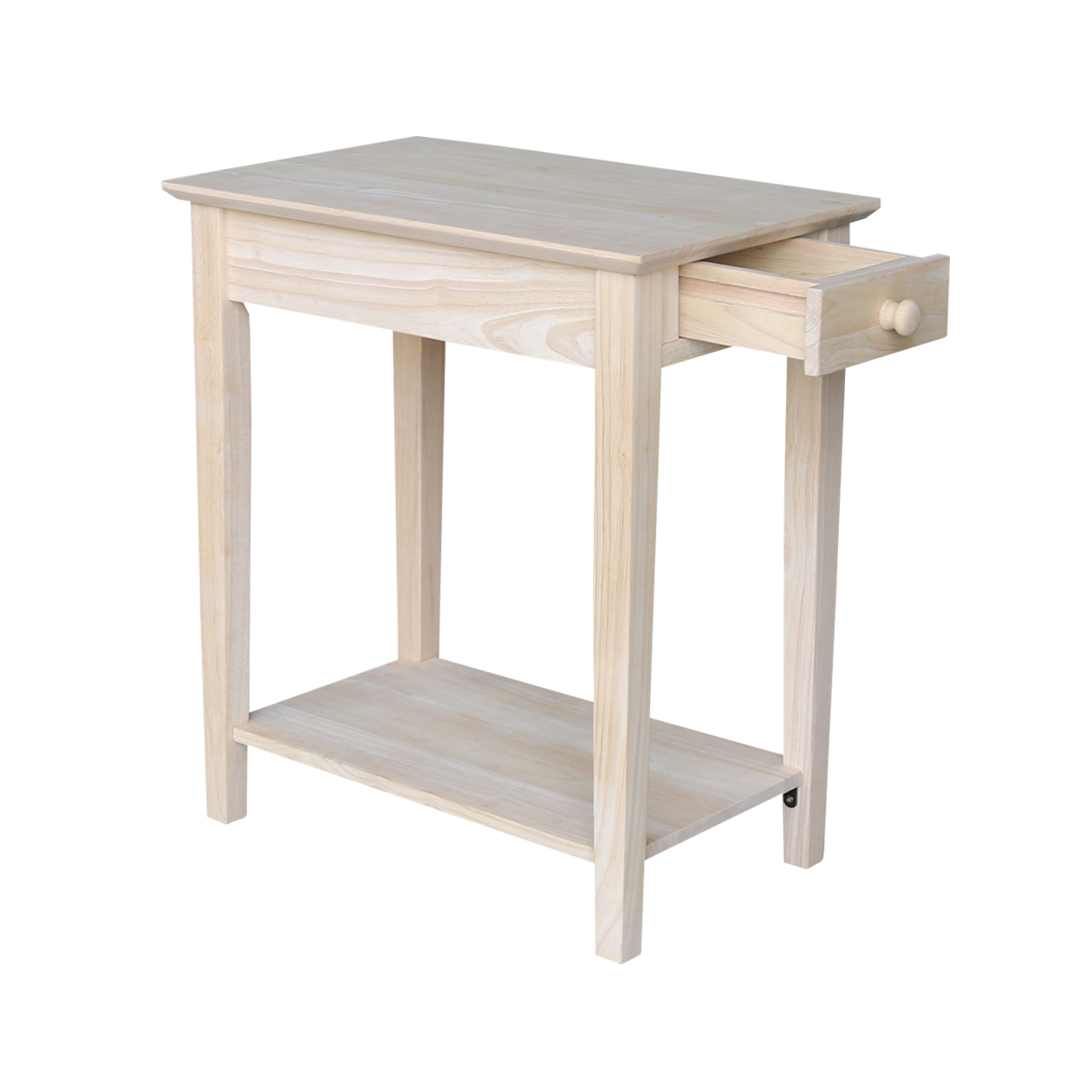 international concepts narrow end table unfinished furniture tables over lamp liberty ocean isle piece dining set diy metal coffee dark brown wood stain bare pine pallet crate
