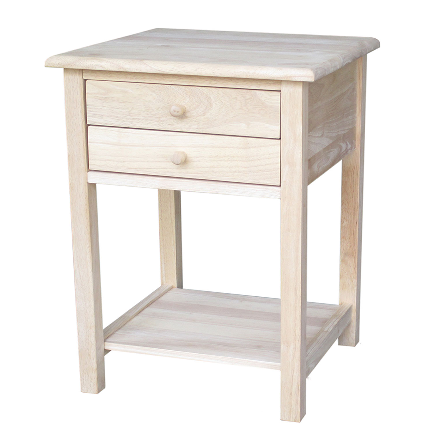 international concepts unfinished wood end table with drawers furniture tables hover zoom nightstand without occasional height pallet desk ideas living room paint colors brown