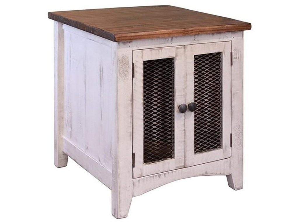 international furniture direct pueblo rustic end table with mesh products color tables doors unfinished stools white iron side square dog crate buffet riverside sierra round