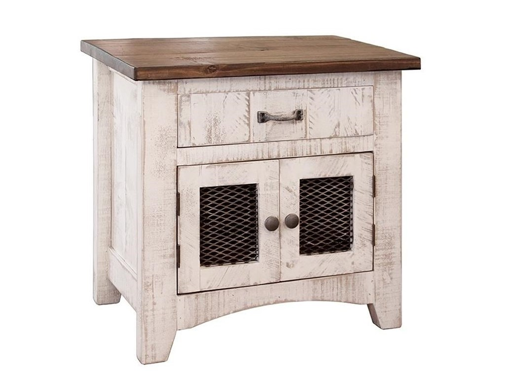 international furniture direct pueblo rustic nightstand products color bedroom end tables with mesh panel doors green outdoor side table brown glass coffee oval cherry wood