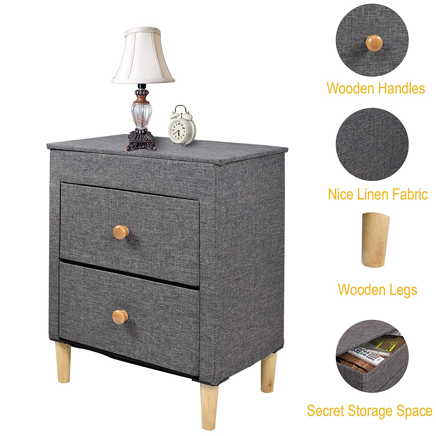 itidy drawer dresser premium linen fabric nightstand end table bedside storage chest for nursery closet bedroom and bathroom lexington dining furniture cherry side tables living