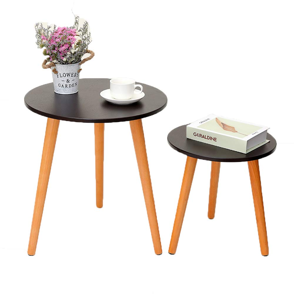 iwell nesting tables coffee end set for living room sofa table side with rubber wood leg sturdy and easy assembly brown wooden dog beds diy ashley furniture new leather circular