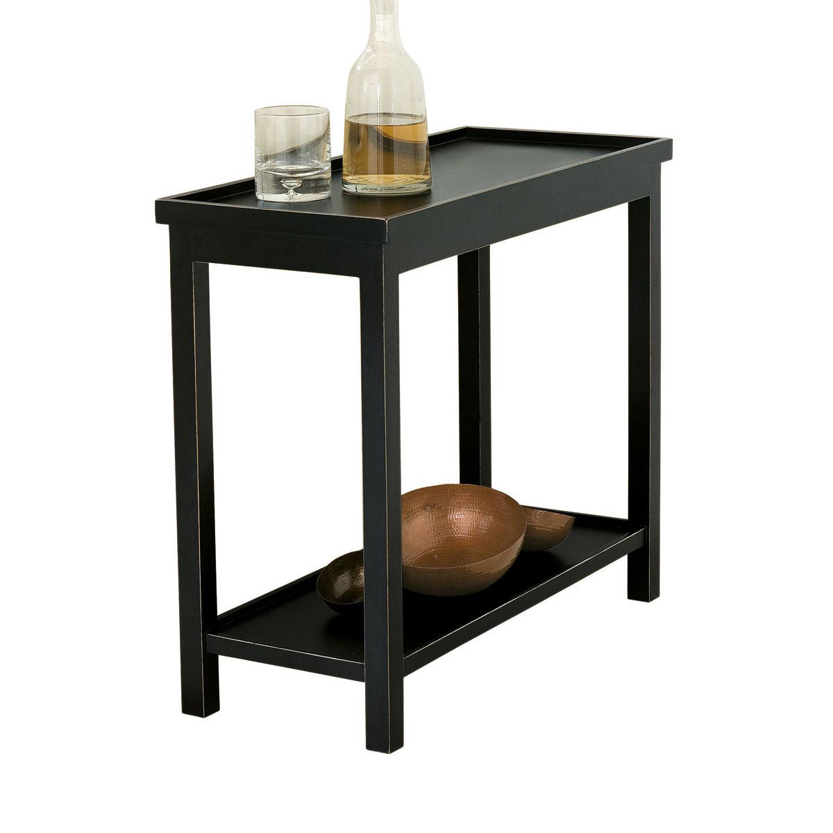 jet rubbed black narrow wooden side table oka coffee and end tables oriental lacquer cabinet glass dining legs thomasville set farmhouse wood furniture realtree san bernardino