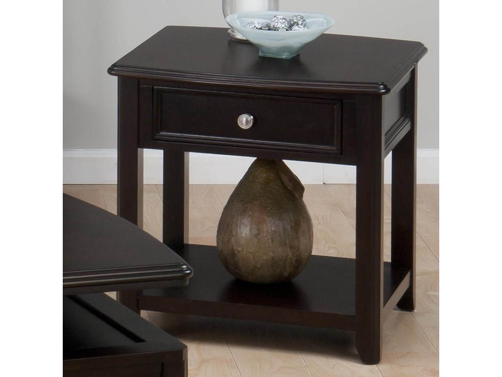 jofran corranado espresso casual end table with products color wood tables drawer shelf black oval coffee set rustic dining ethan allen bedroom sets used kmart off coupon glass