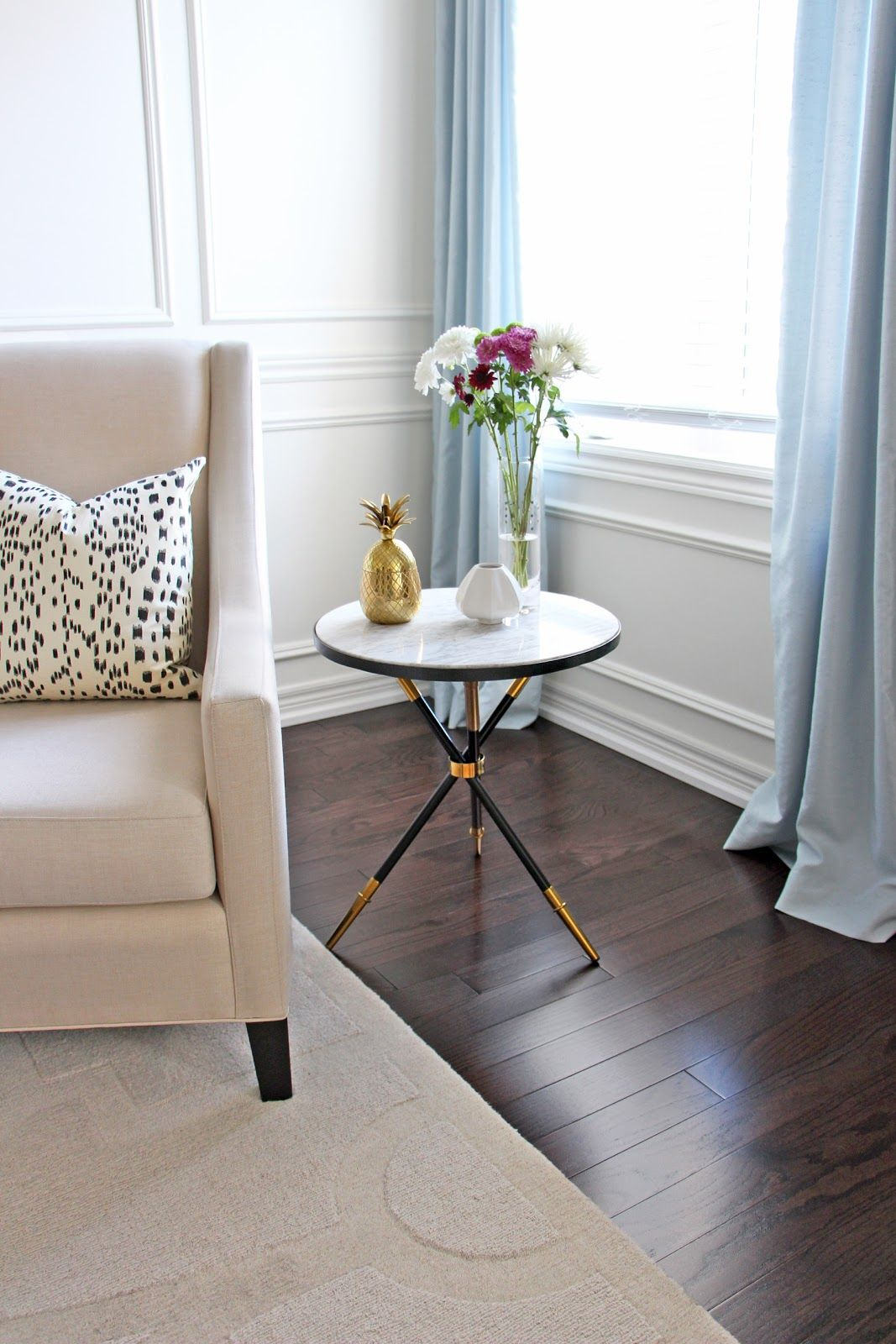 jonathan adler rider tripod table lookalike homesense marble side accent tables les touches pillow black mirror dining drum chair small oak occasional pair antique nautical end