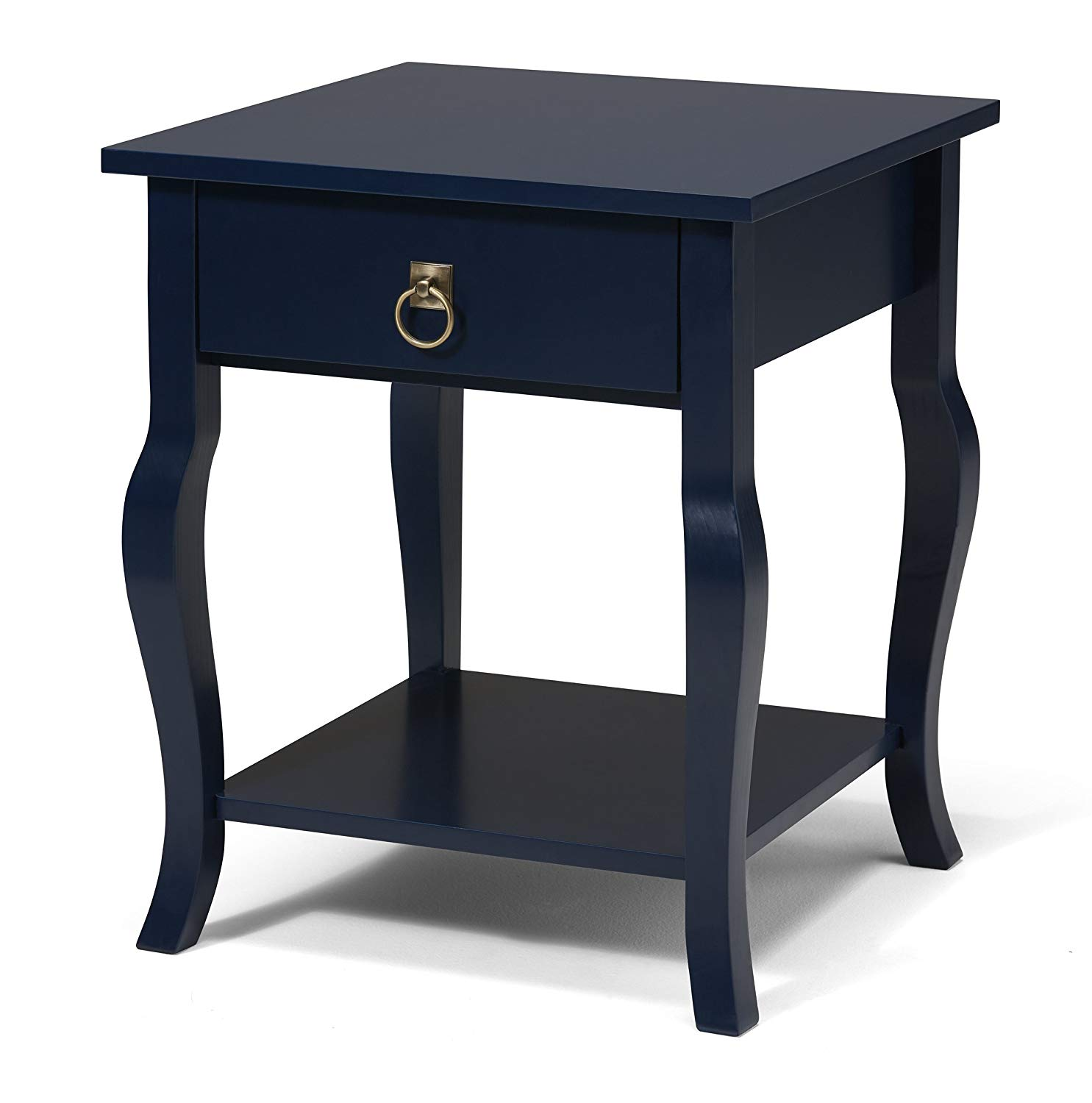 kate and laurel lillian wood side table with navy blue end curved legs drawer shelf kitchen dining upcycled pet beds waylon furniture plexiglass nesting tables fire pit screens