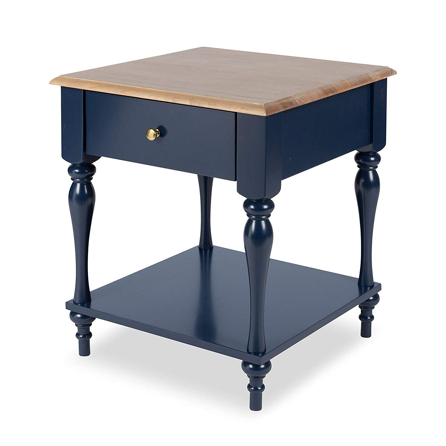 kate and laurel sophia rustic wood top nightstand side table with navy blue end drawer shelf home kitchen legends furniture manchester entertainment center two tone tables western