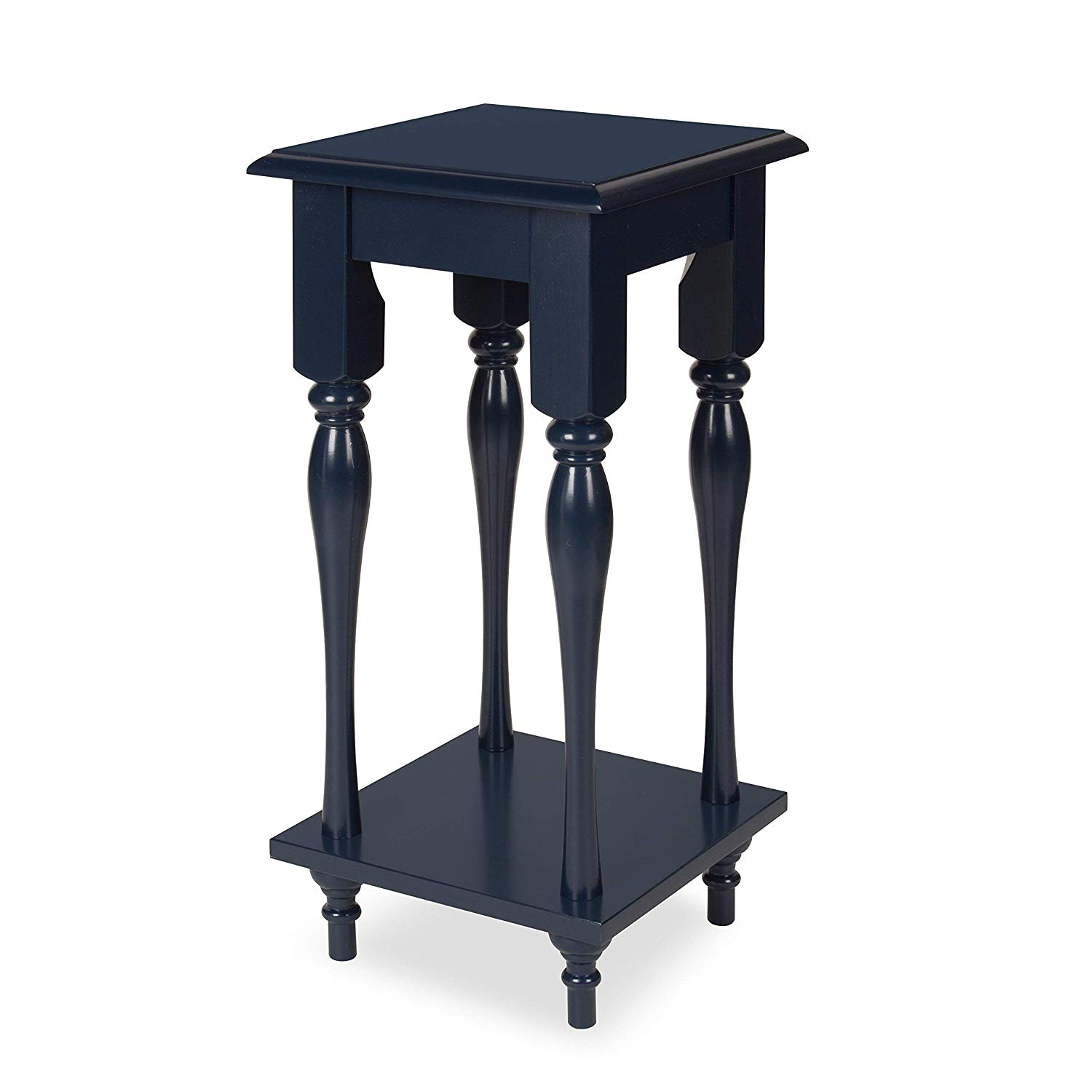 kate and laurel sophia wood plant stand end table with navy blue shelf home kitchen black chinese coffee riverside furniture bedroom sets round dining room tables next couches