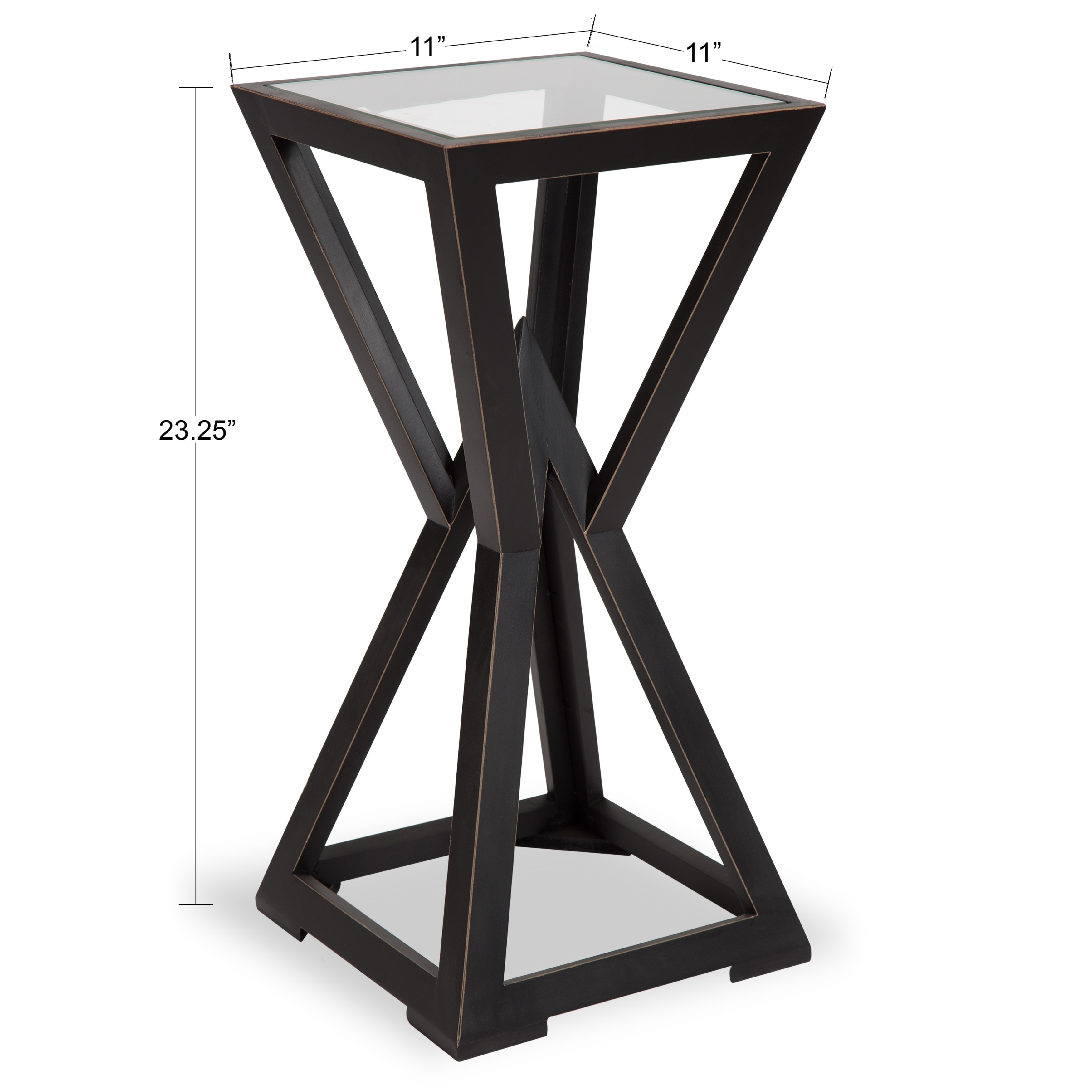 kate and laurel yogi small black wood side end table free tables sofa arm untreated furniture mirrored brown glass top coffee cool bedside lamps antique french leons dining sets