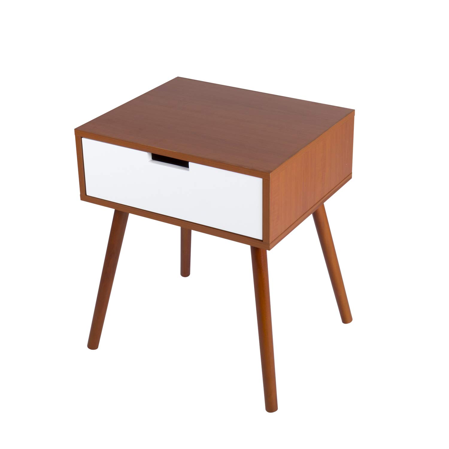 kinbor side end table nightstand bedroom living room mid century with drawer cabinet storage accent wood furniture kitchen dining white square coffee glass top ethan allen style