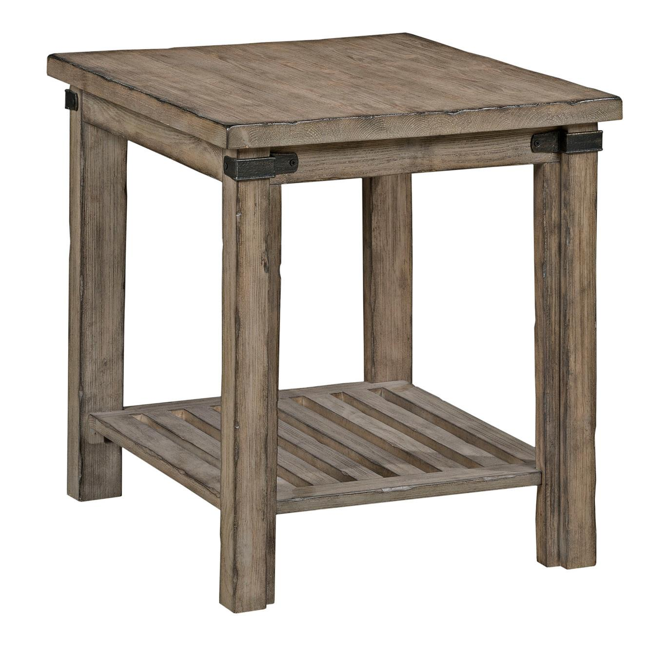 kincaid furniture foundry rustic weathered gray end table lindy products color tables black pipe coffee ikea round dark red leather armchair cottage white outdoor broyhill fontana