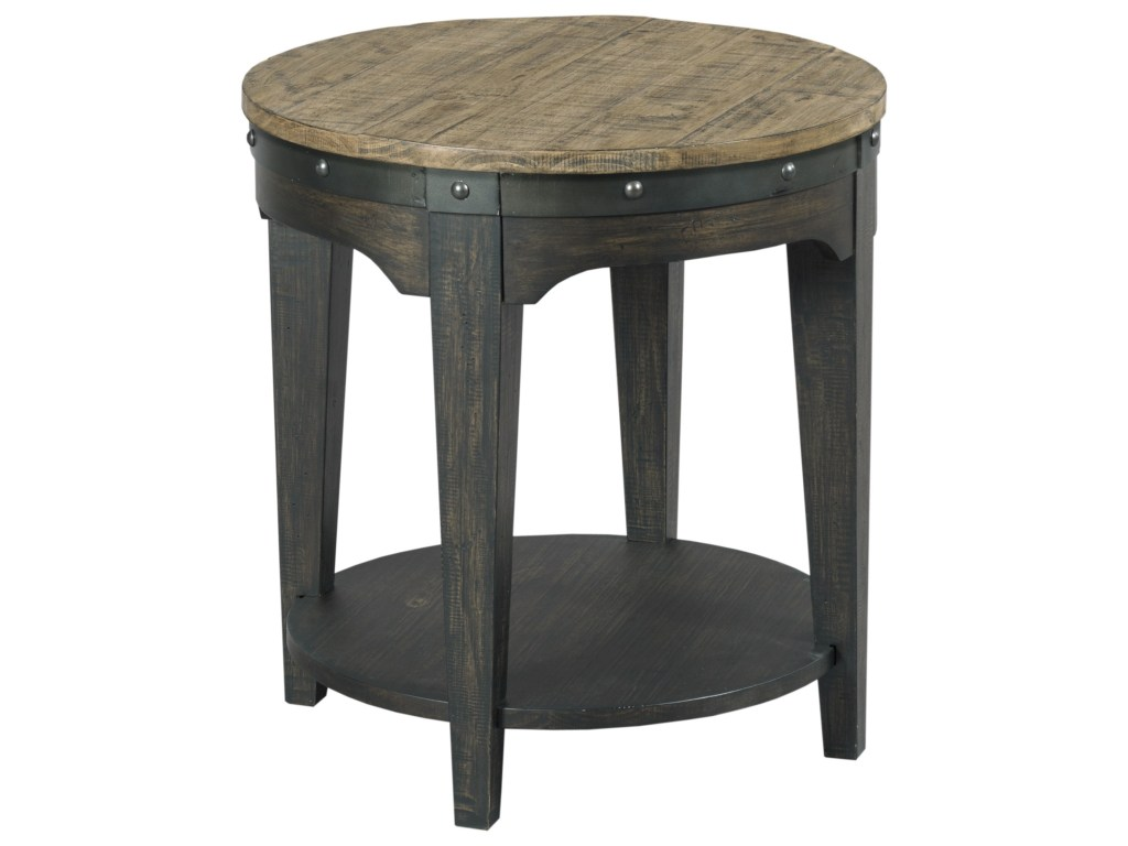 kincaid furniture plank road artisans round solid wood end products color tables roadartisans table vintage glass bedside black and brown couch inch patio macys kitchen ashley