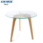 kinmade round coffee table solid wood oak legs tempered glass top end tea living tables room furniture build out pallets kmart coupons white with storage mission style pottery 150x150