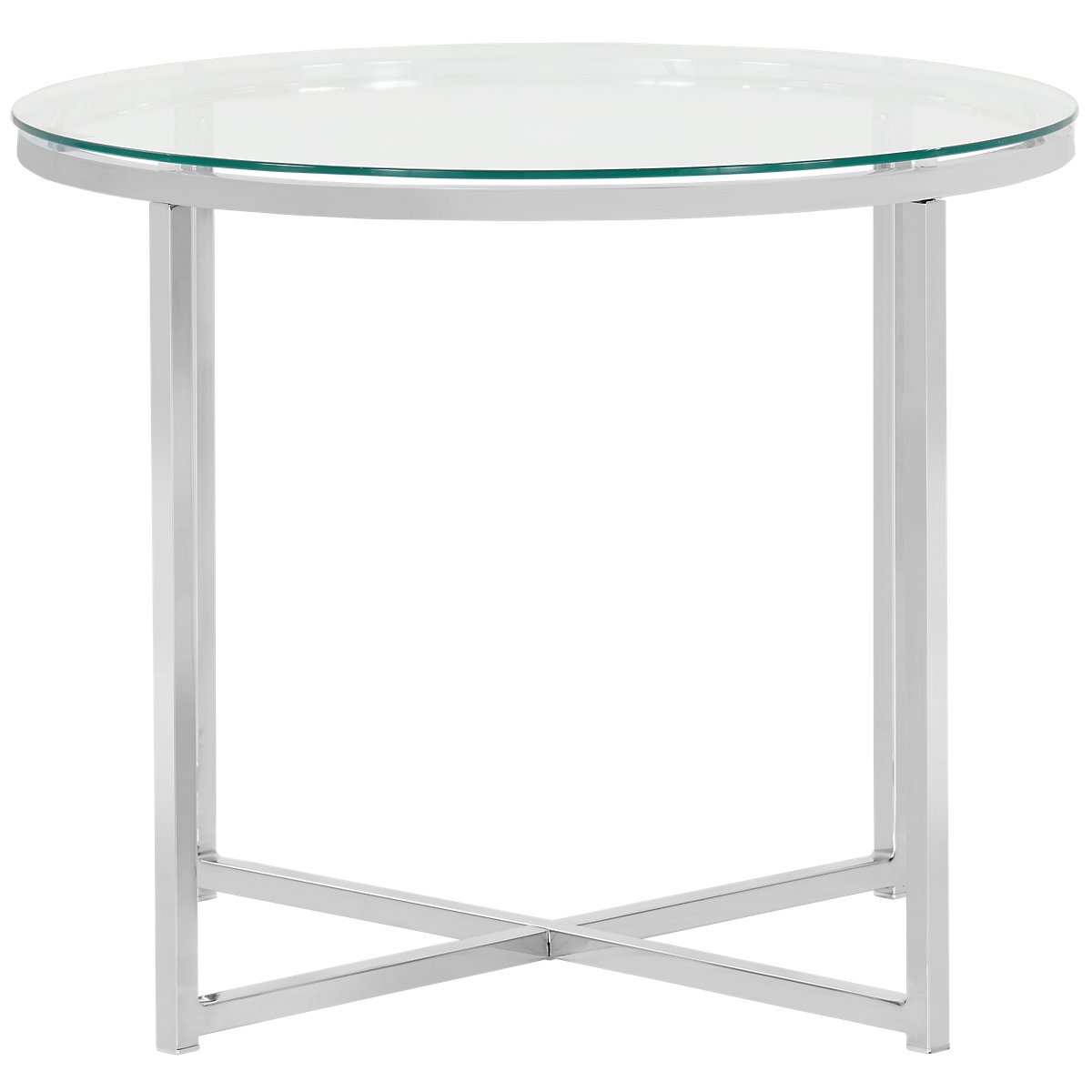 kross clear glass round end table tables drawing room furniture under sofa leather set black modern brands outside ethan allen nightstand maple dark brown stain london ontario