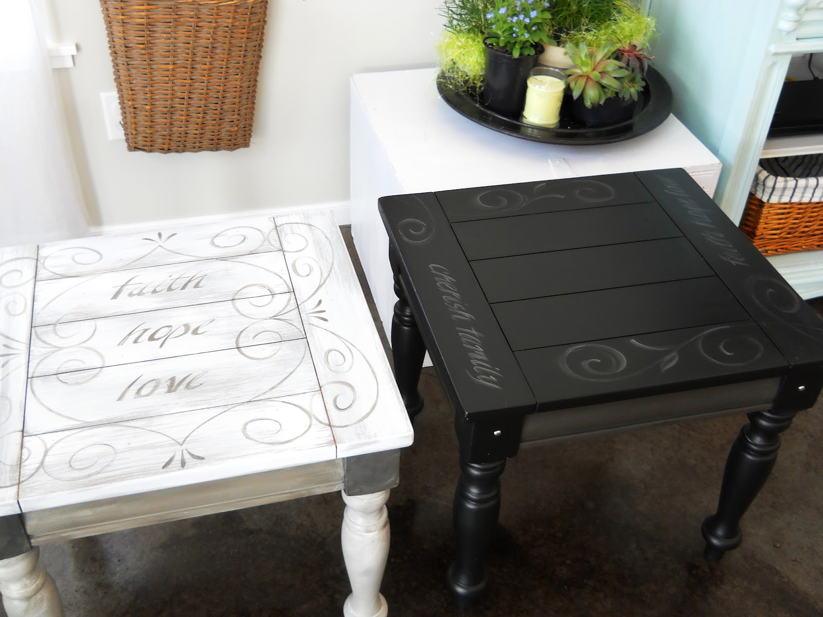 lake girl paints black end table with painted scroll and text tables painting credenza dog kennel stanley furniture direct unique modern coffee chinese half moon brown sofa living
