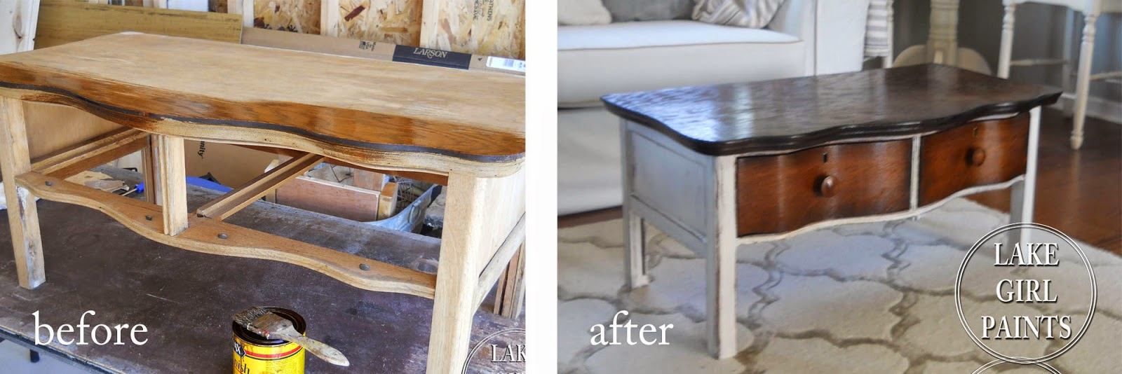 lake girl paints old dresser turns coffee table before and after end megan inherited from grandma modern chairs tall square side inch lamps chinese with stools living room