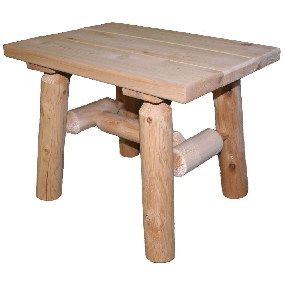 lakeland mills cedar log patio end table outdoor side tables coffee and hammary mallory kmart shoes clearance whalen furniture vineyard dining collection unfinished pub set