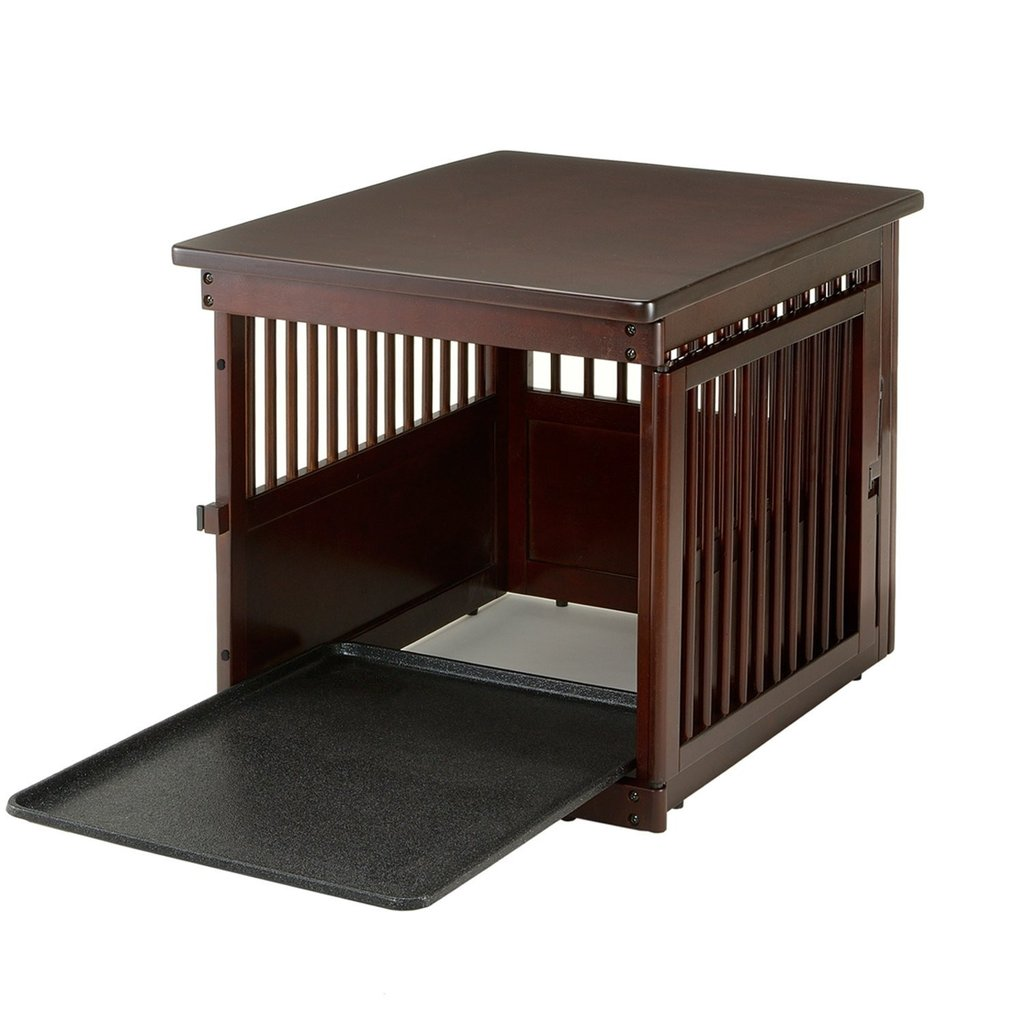 large dog crate end table with pull out tray officialdoghouse richell endtable wood mission living furniture ethan allen down filled sofa diy kennel broyhill outdoor patio