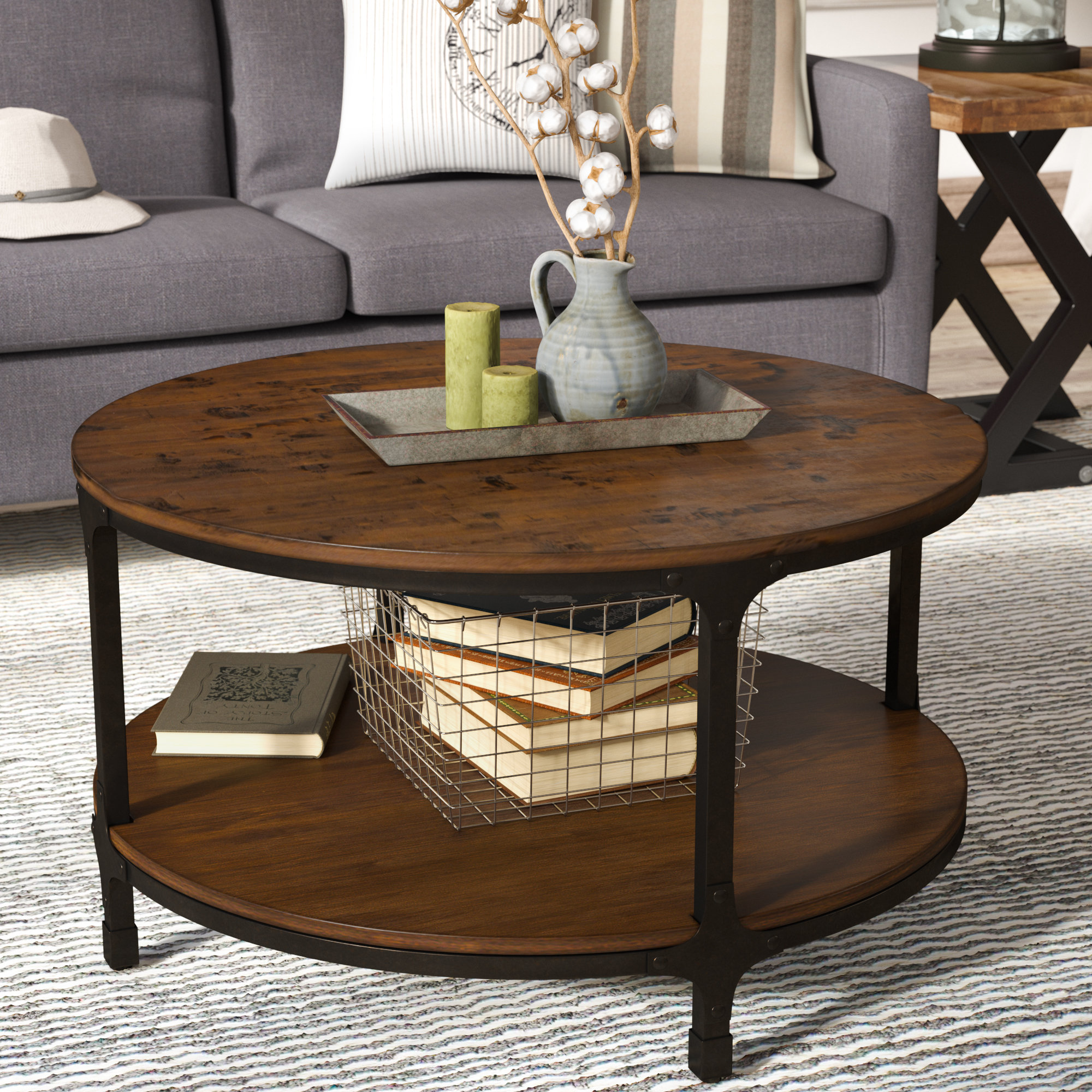 laurel foundry modern farmhouse carolyn round coffee table reviews end tables sofa chocolate brown couch living room ideas powells furniture life sense home suede side set target