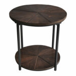 laurel foundry modern farmhouse gallien round metal and rustic wood end table black reviews dark oak occasional tables chrome bathroom shelf inch curtain rods vintage bamboo 150x150