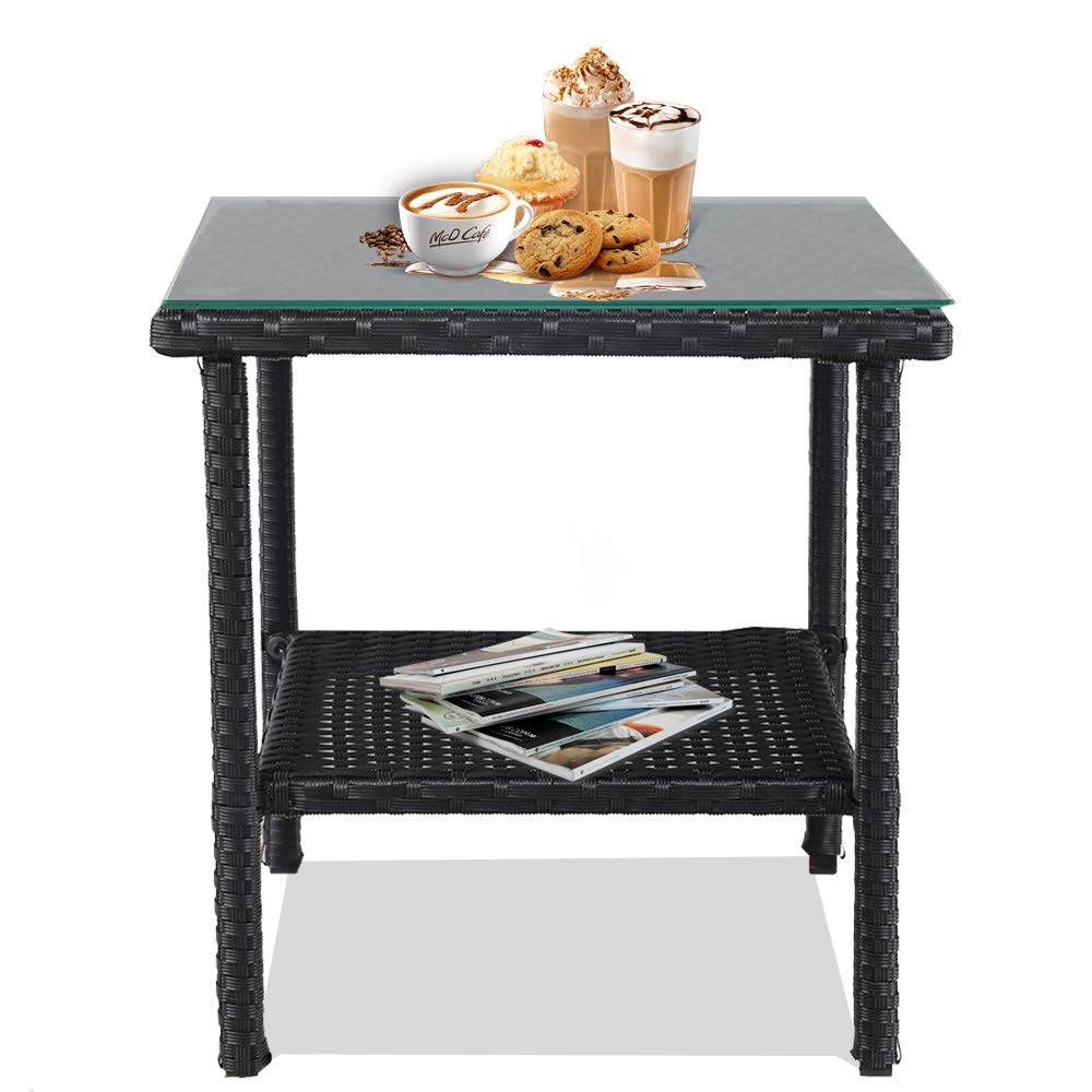 leaptime patio side table coffee tables tea xaml black outdoor end indoor square small deck with rattan glass top garden inch pet ethan allen fabrics leick laurent hall console