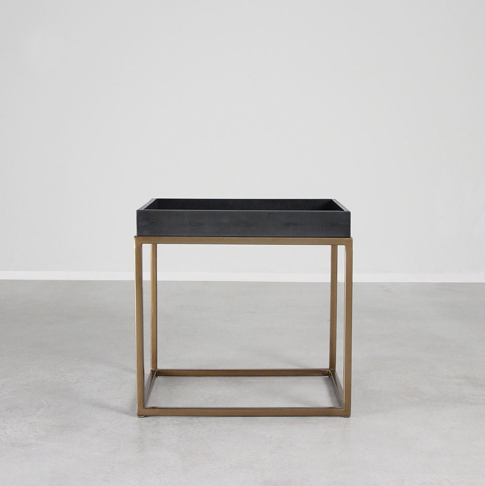 leather and brass end table pfeifer studio modern dimensions inches brentwood tree log coffee tables small tall black lacquer console railroad cart kitchen glass dining farmhouse