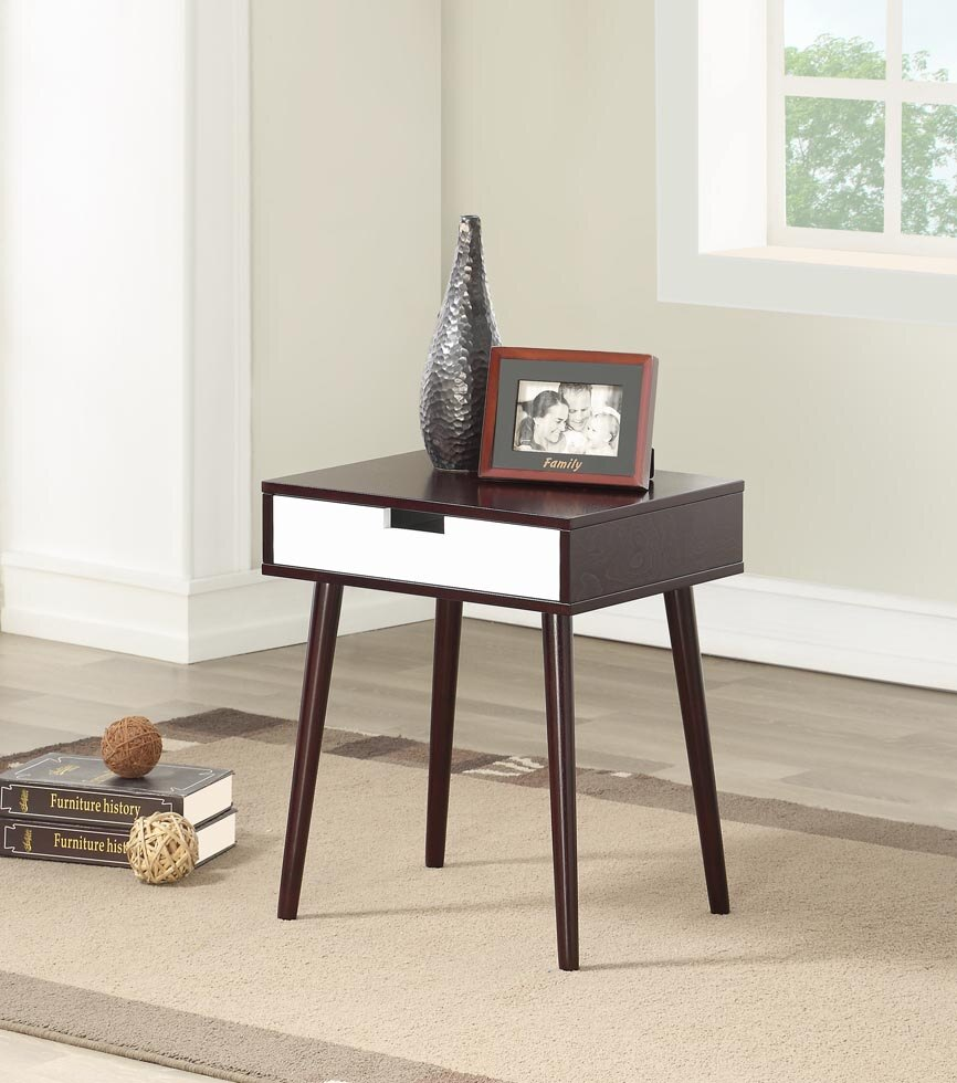 legacy decor espresso color hardwood end table night stand with colored tables drawer thomasville old furniture riverside garden pet crate painting black iron pipe sauder computer