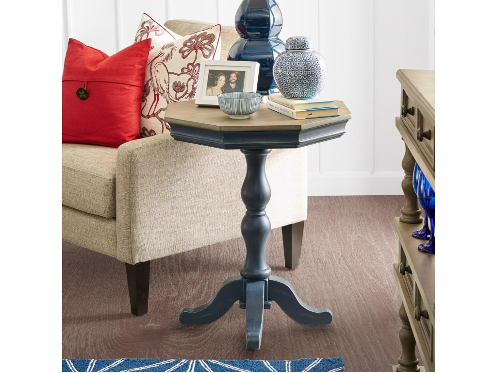 legends furniture laurel grove two tone accent pedestal table turk products color zlgv end tables tall behind couch shaped living room ideas raw wood dining nesting cocktail hot