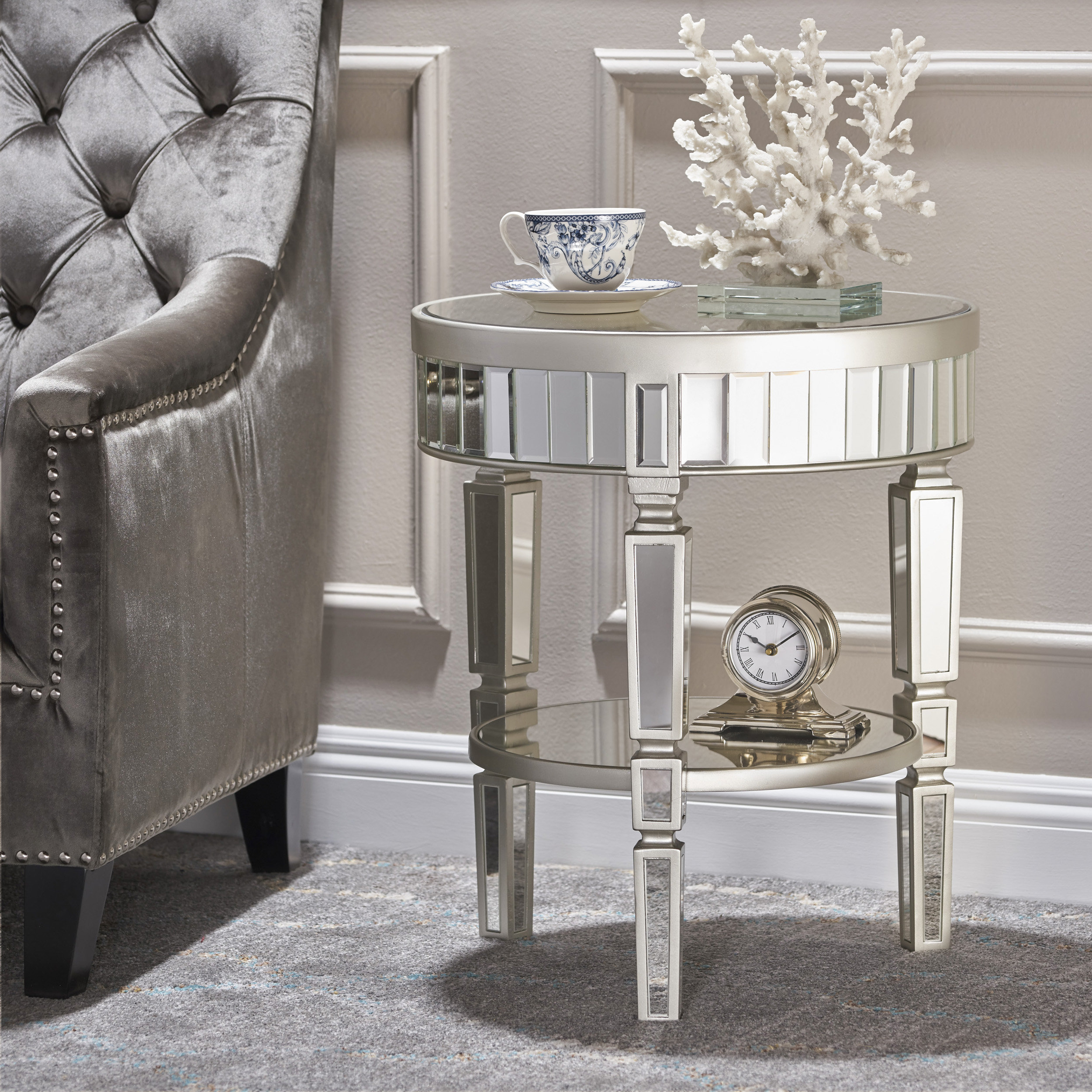 lemmon mirrored end table reviews joss main pipe making wood stone top side powell home furnishings cuisinart meat claws small acrylic distressed round pedestal dining crate ideas
