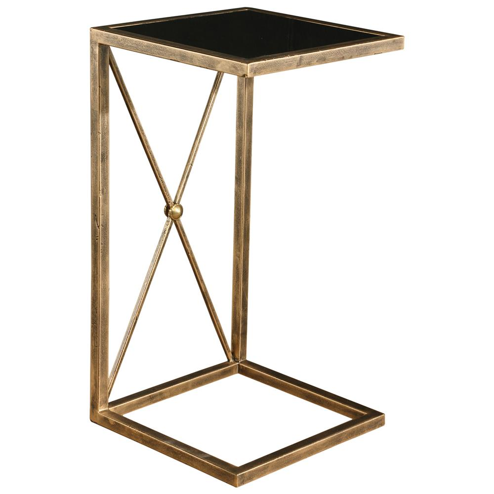 lexington modern classic antique gold black glass side table product end kathy kuo home painted oak and chairs kmart unfinished furniture beds annie sloan teal paint adirondack