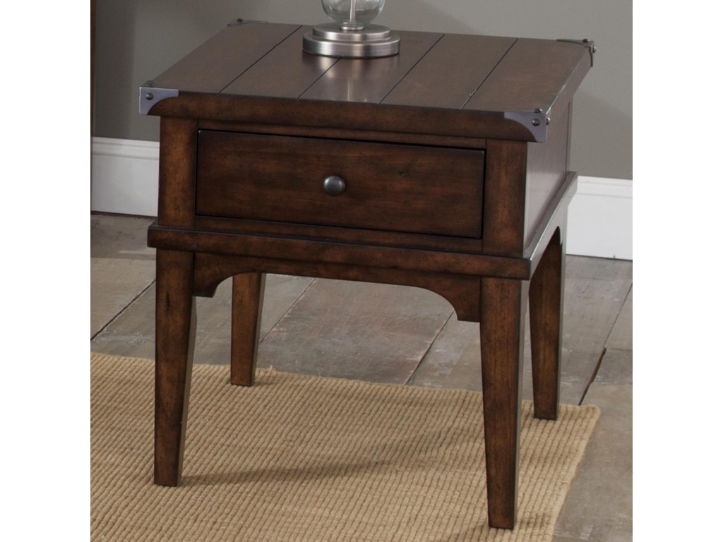 liberty furniture aspen skies industrial casual end table products color occ one drawer with living room paint colors black who makes pottery barn cassina gold and glass accent