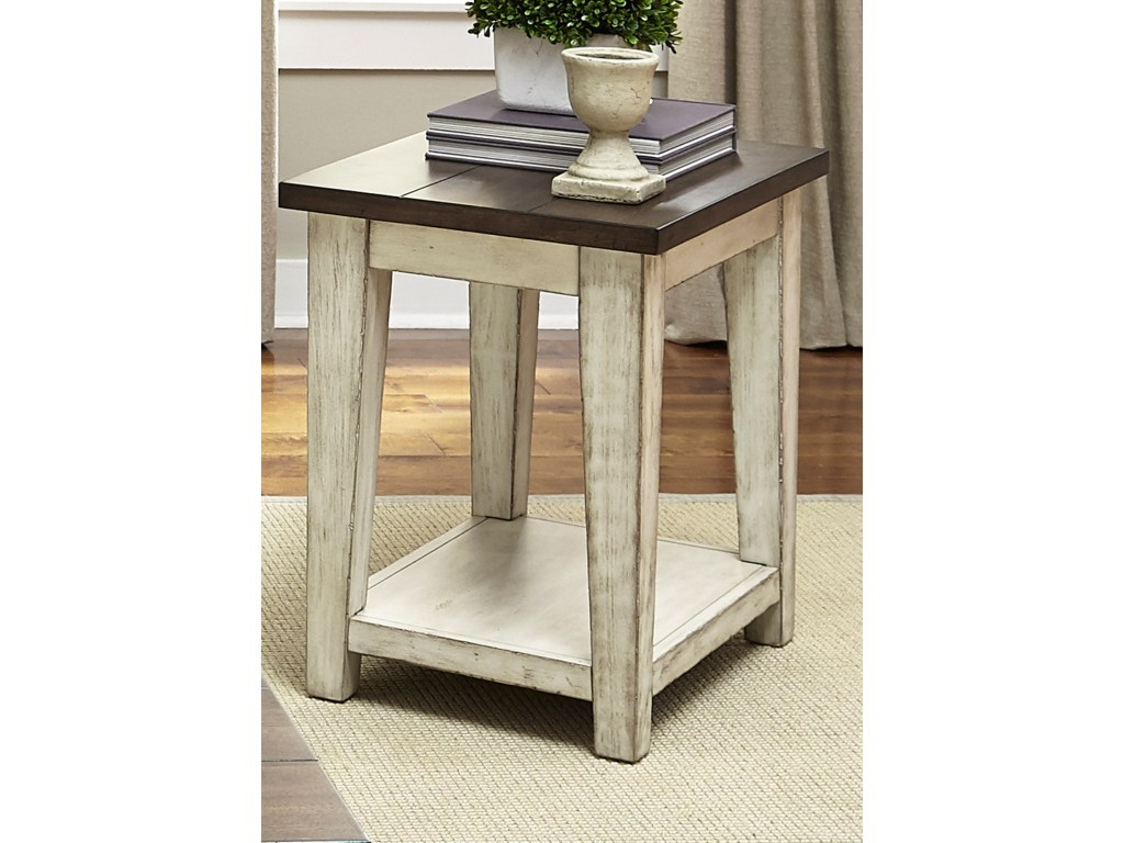 liberty furniture lancaster rustic end table with light distressing products color occasional royal tables lancasterrustic solid wood cube side glass patio accent wick leather