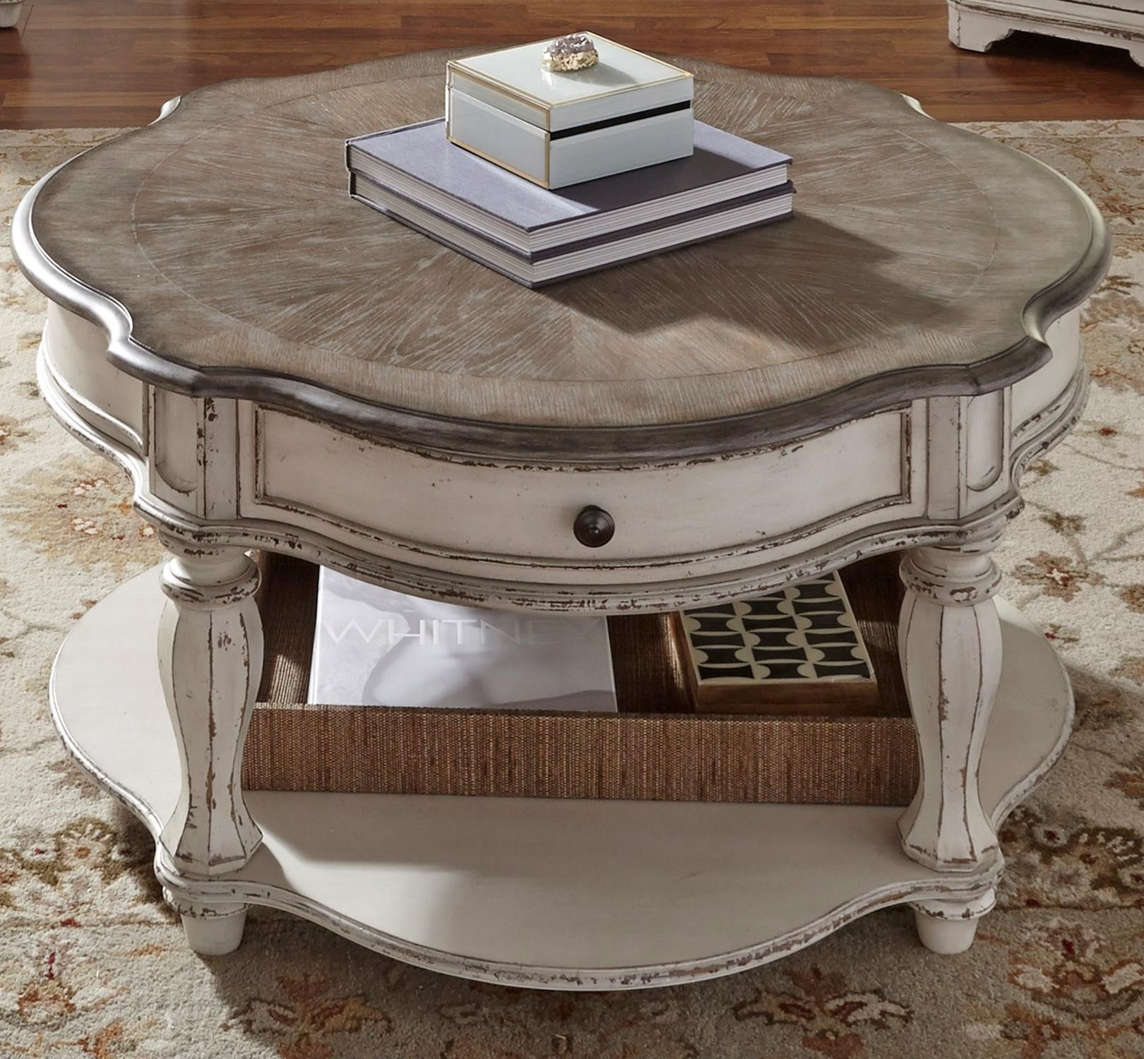 liberty furniture magnolia manor round cocktail table products color end tables with casters black and gold painted stanley young america desk small dog kennel made from skids