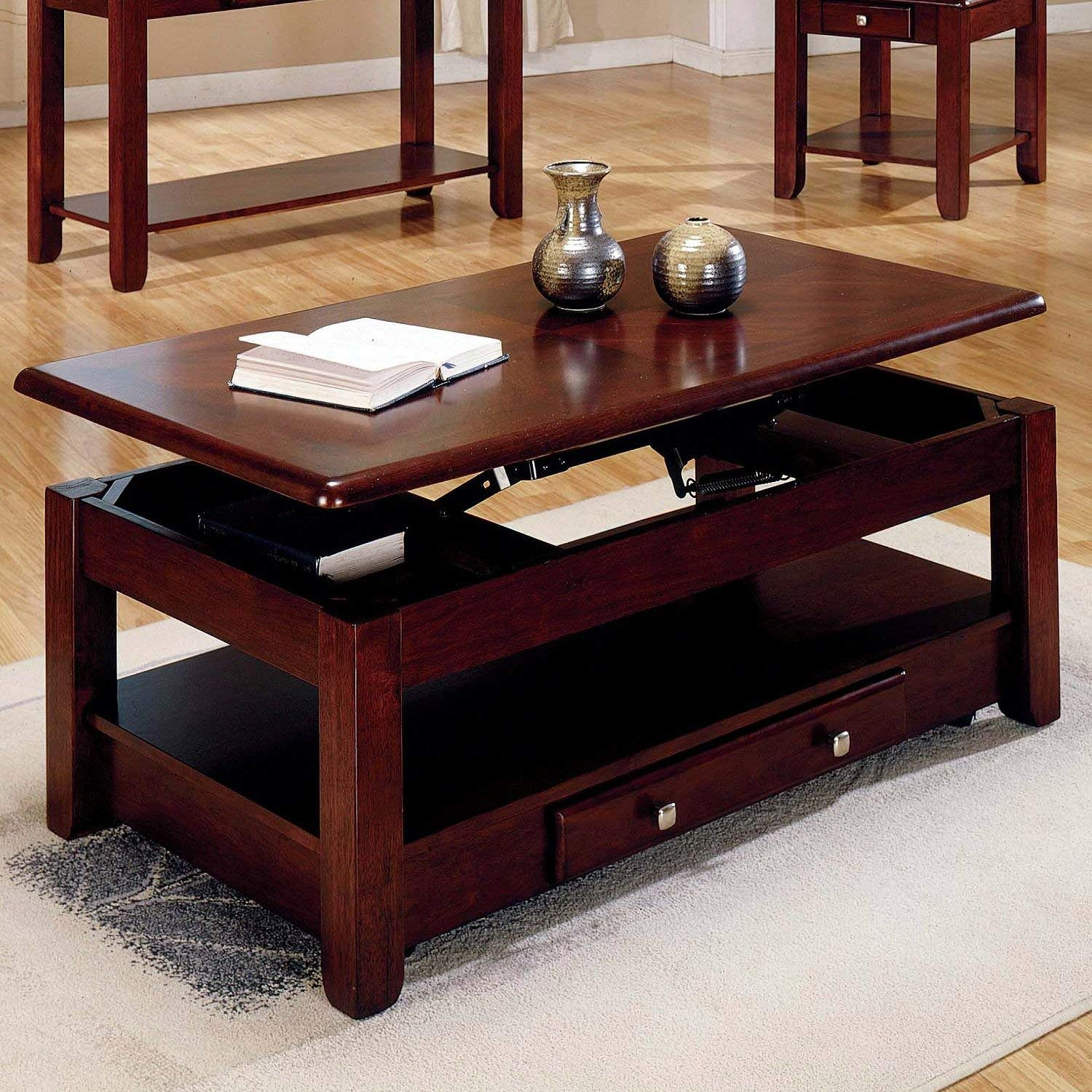 lift top coffee table cherry finish with storage wood end tables drawer drawers and bottom shelf kitchen dining broyhill yorkshire market slim lamp pet kennel furniture pine stump
