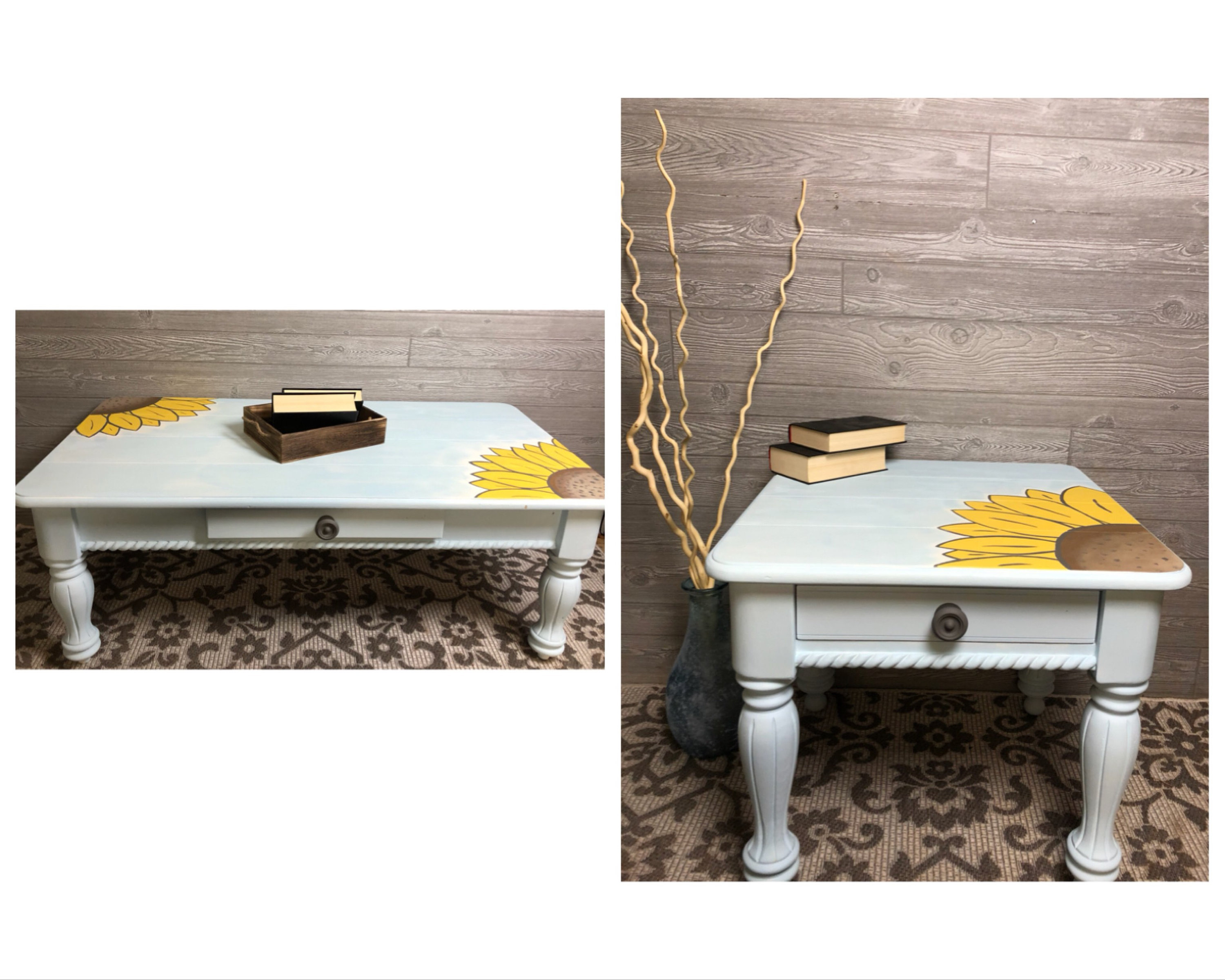 light blue coffee and end table with sunflowers etsy fullxfull mjen elephant leg mid century modern bedroom furniture sofa decoration living room fur iron pipe desk legs
