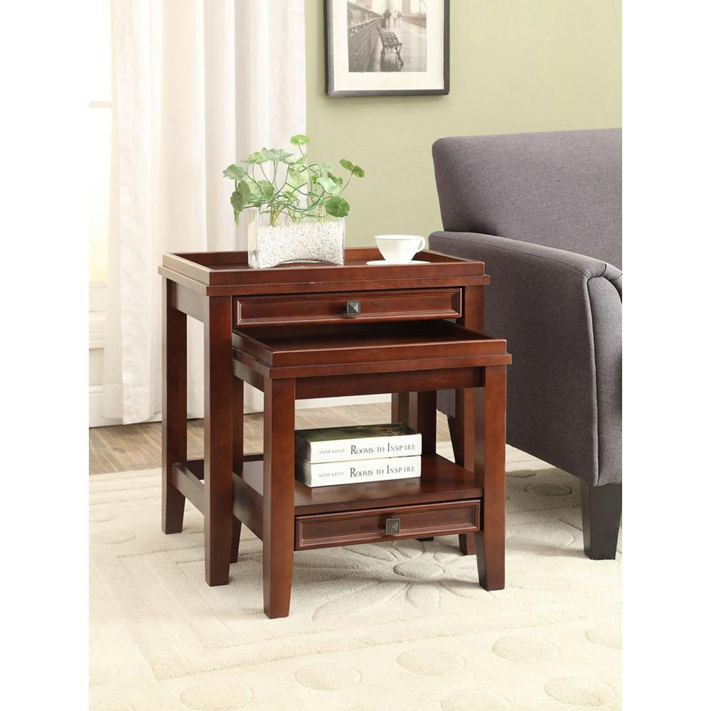 linon home decor wander cherry piece nesting end table tables the furniture black side lamps glass tops for magnussen bellamy reviews stickley style sofa espresso finish coffee