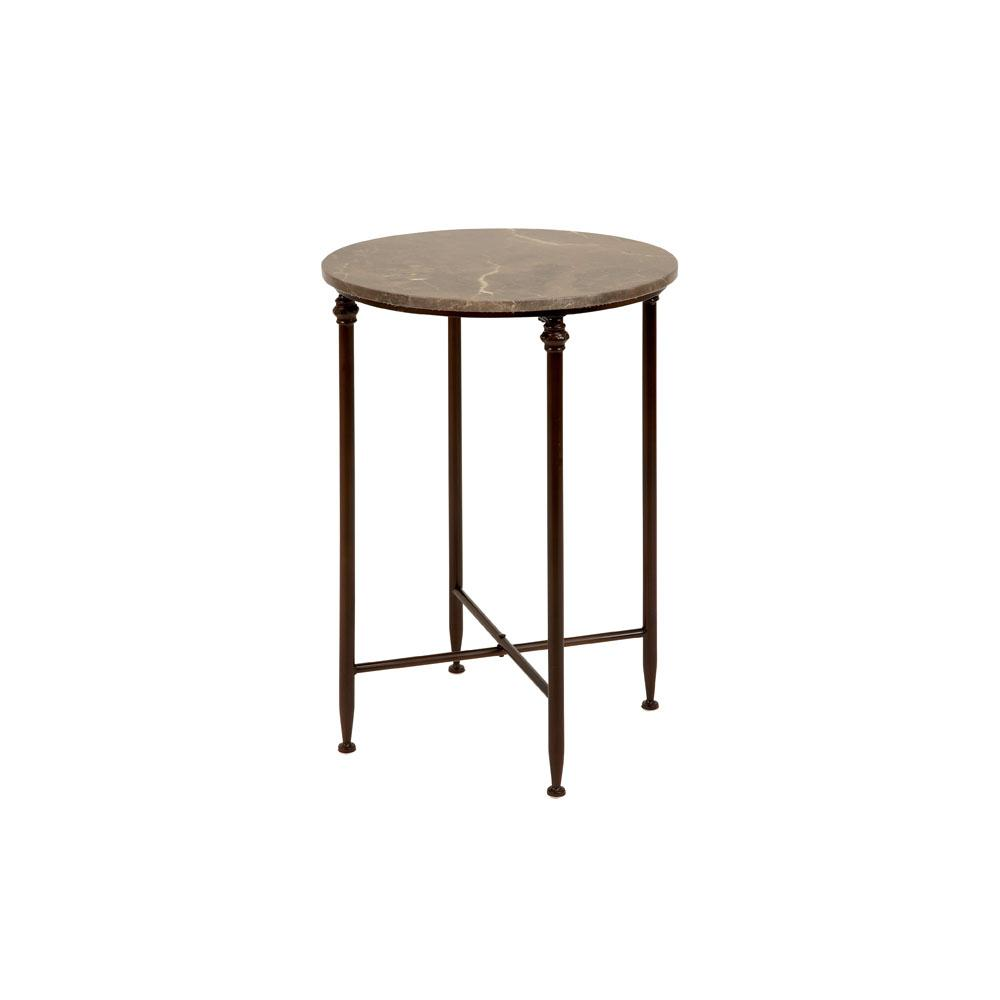 litton lane beige marble round accent table with black iron legs end tables the chocolate brown leather armchair pallet console non matching sofas living room hall riverside