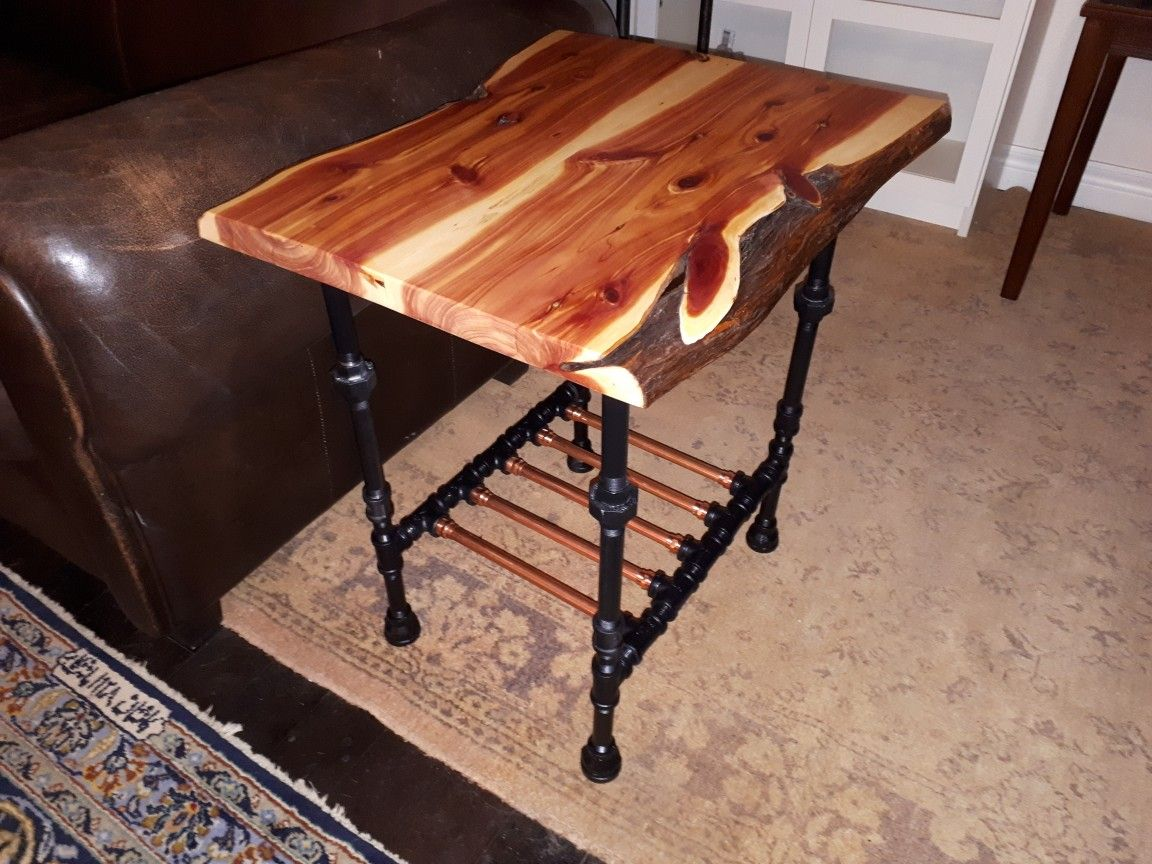 live edge juniper with black pipe and copper base end table thomasville bedroom furniture diy tire dog glass tall touch lamps value city magnolia market toscana french country