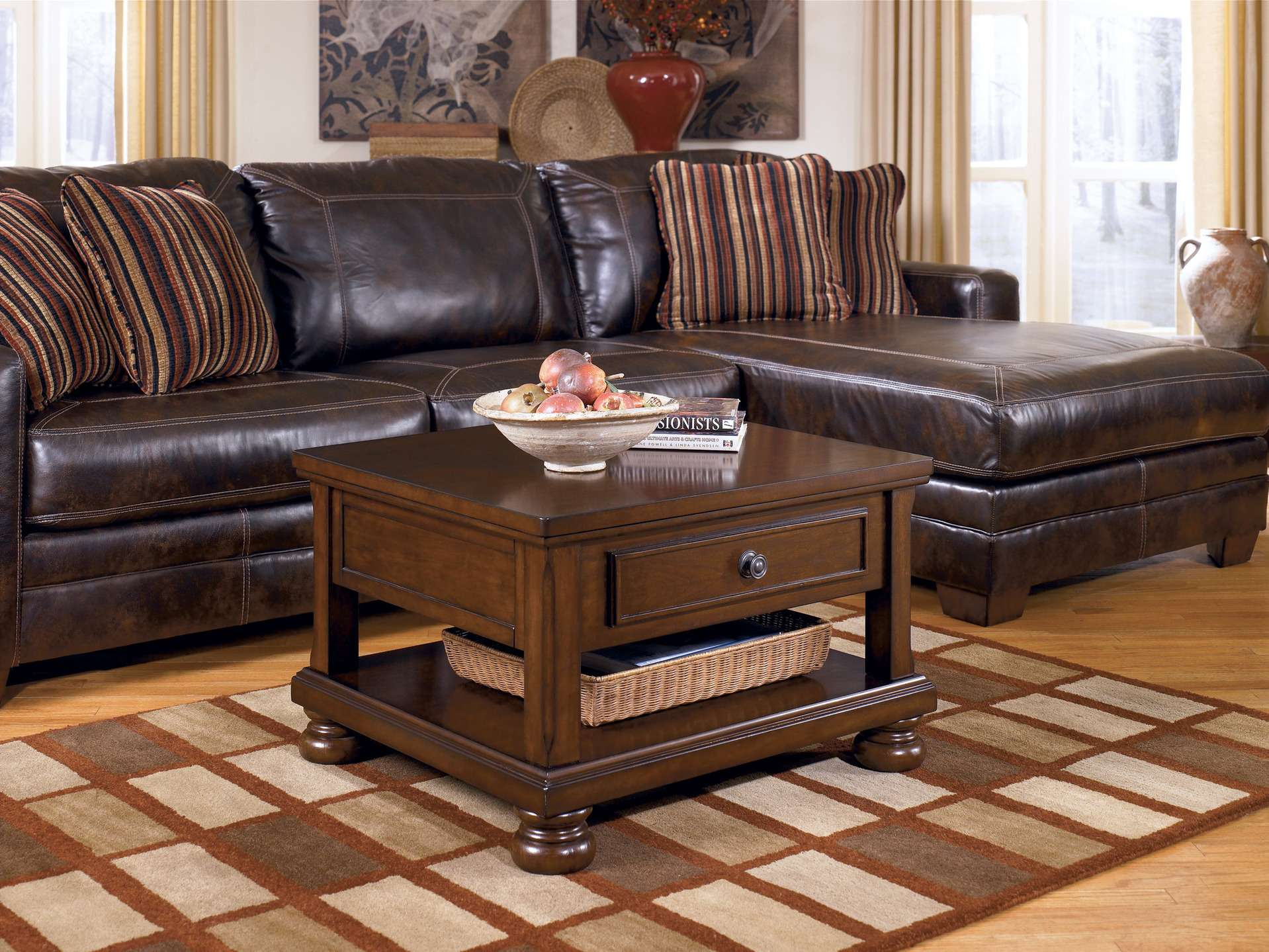 living room amazing decorating chocolate brown furniture leather sectional sofa varnished wood coffee table shelves gingham wool rug what color end tables with dark dog kennel