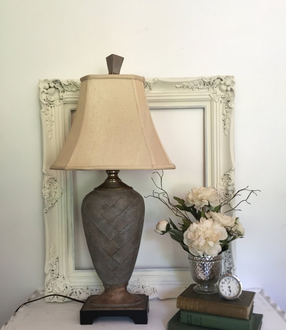 living room end table lamps with vintage decoration and furniture brown stone lamp base soft cream empire shade white carving frame silver metal flower vase pot small clock