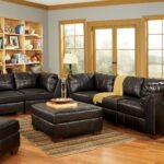 living room with two recliners ashley black leather sofa set big brown orang ceramic table lamp rectangle stripped rug target teak wood varnished end natural display rack laminate 150x150