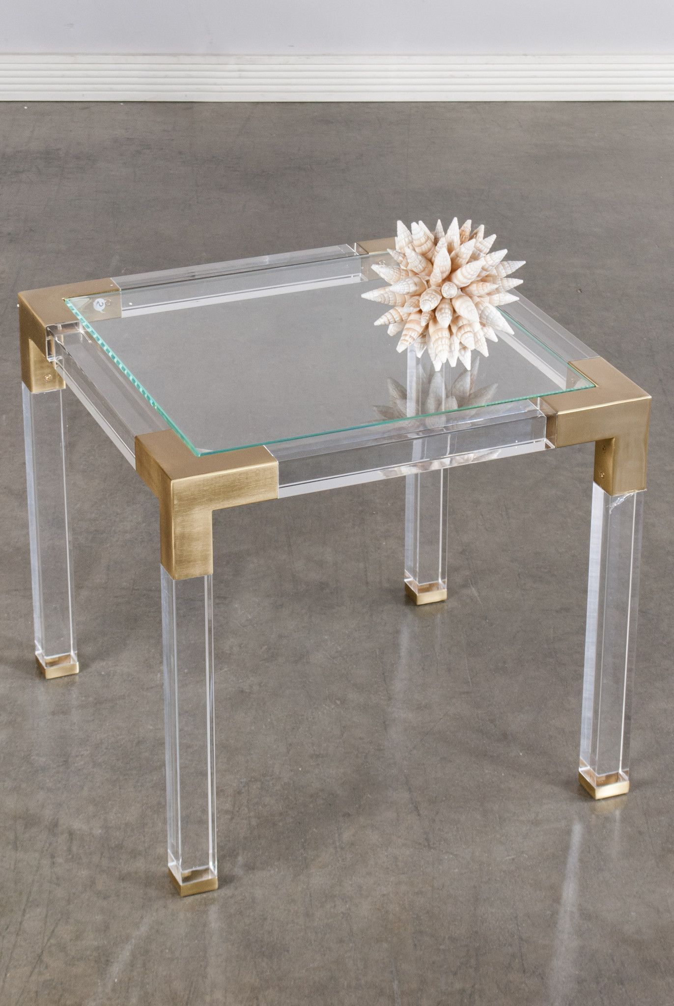 lucia acrylic side table white and gold furniture plexiglass end tables coffee with stone inlay wood nic inch high console glass top dining chairs unfinished island night brass