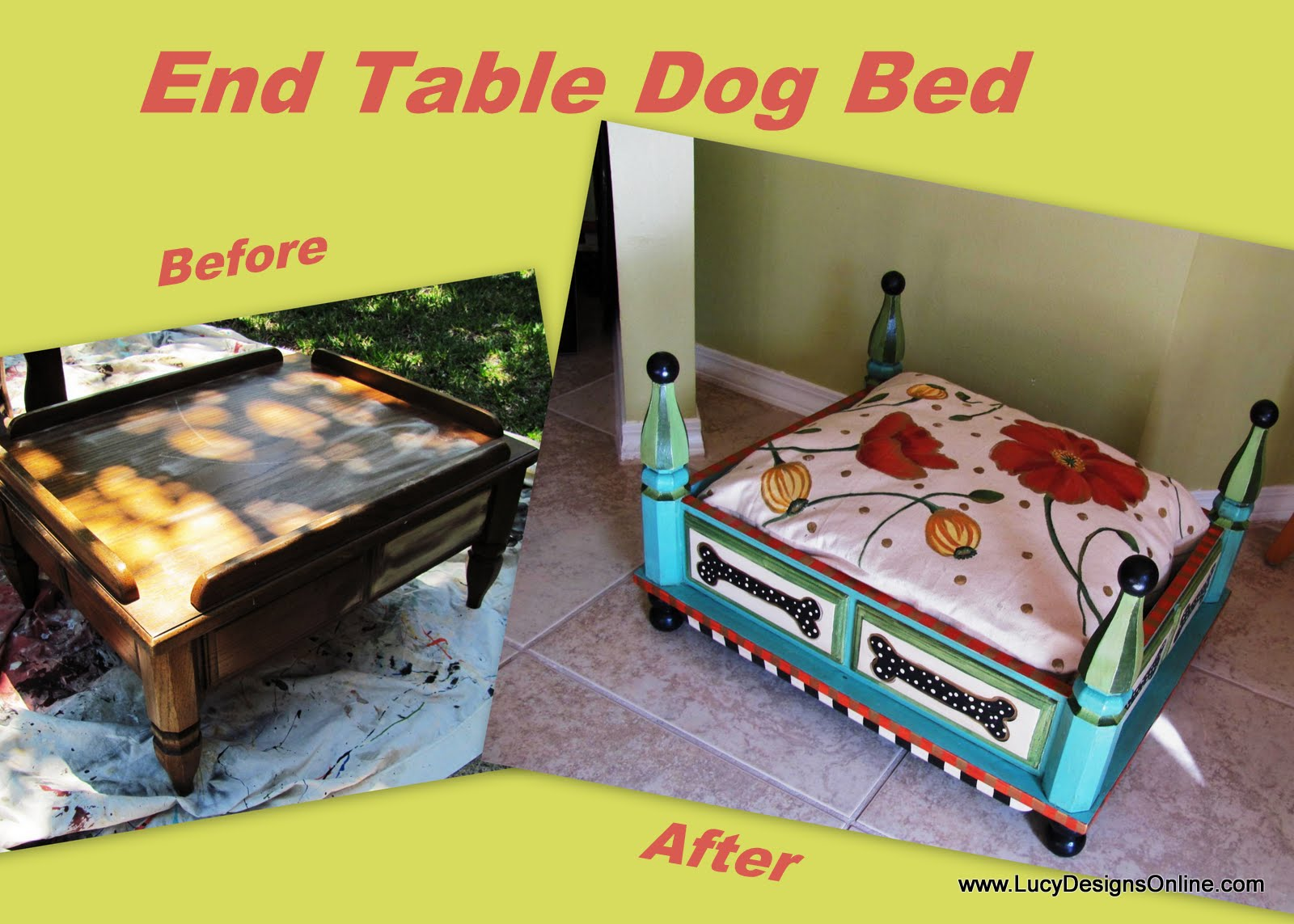 made this diy dog from hall table beds and hand painted turquoise end with floral tables into pallet furniture ideas magazine cabinet tall metal big lots mattress best sofa brands